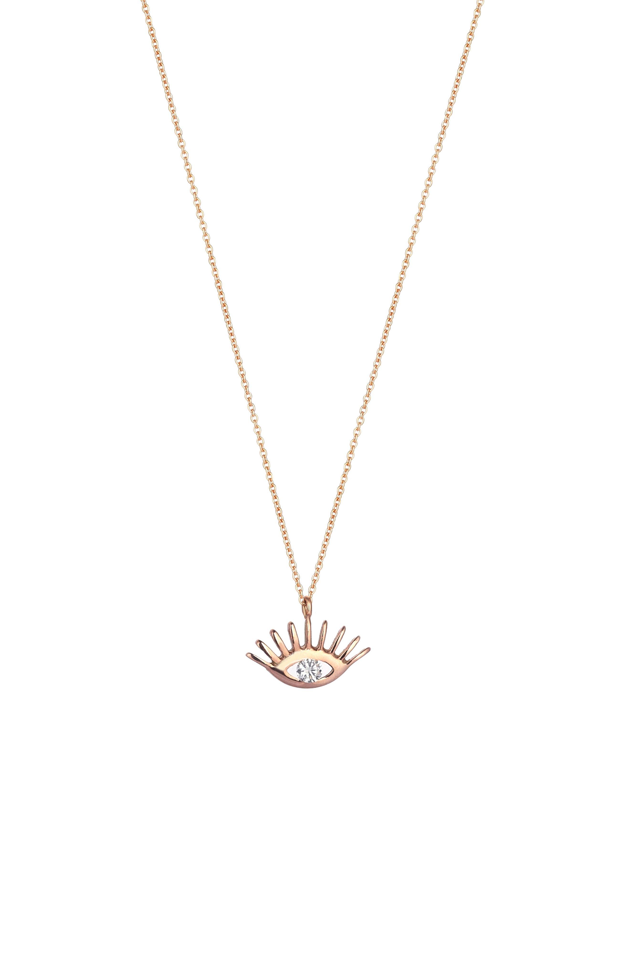 KISMET BY MILKA, Diamond Pendant Necklace, Main thumbnail 1, color, ROSE GOLD