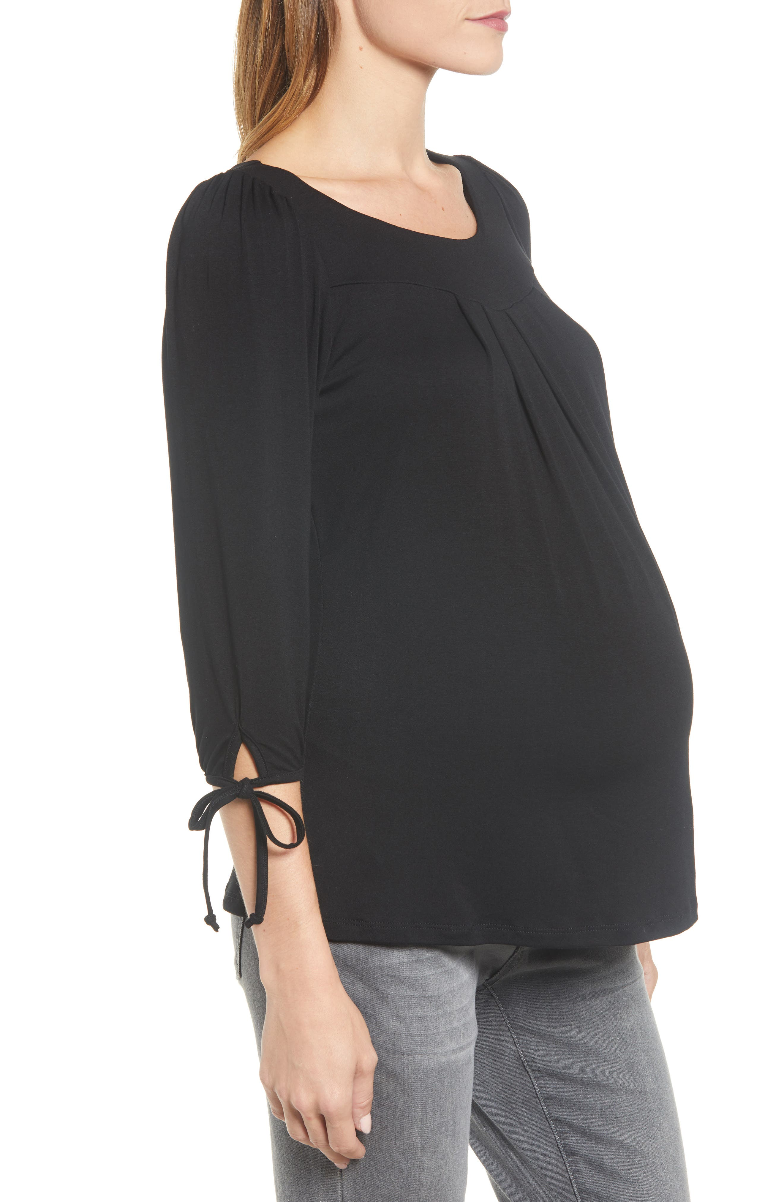 MATERNAL AMERICA, Maternity Tie Sleeve Top, Alternate thumbnail 4, color, BLACK