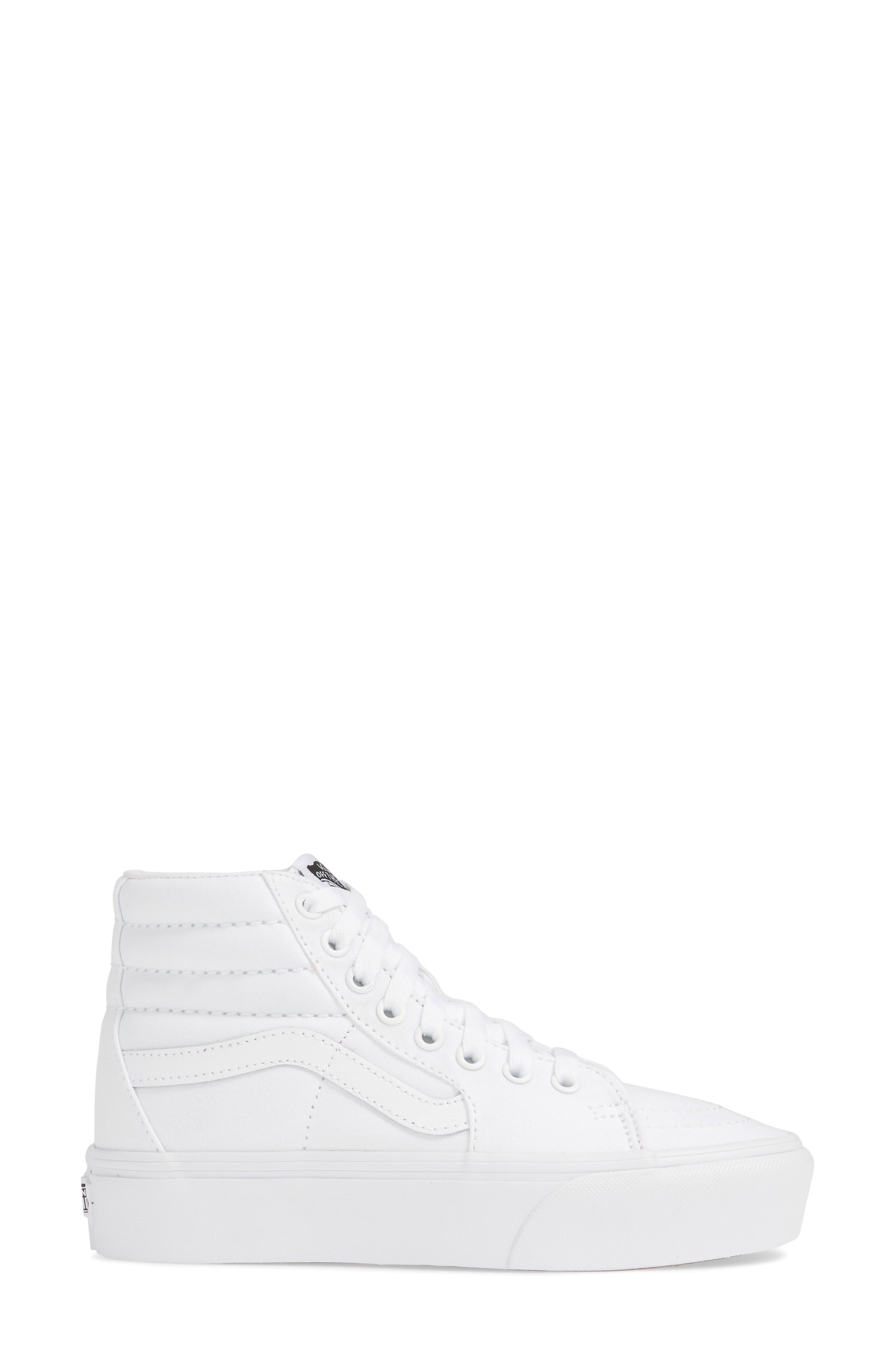 VANS, Sk8-Hi Platform Sneaker, Alternate thumbnail 3, color, TRUE WHITE/ TRUE WHITE