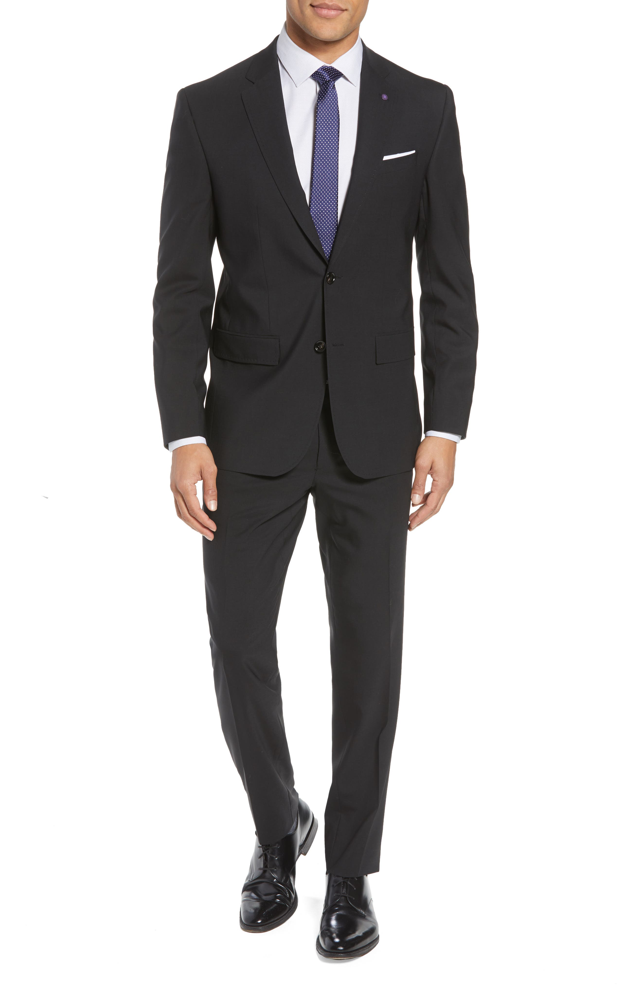 TED BAKER LONDON, Jay Trim Fit Solid Wool Suit, Alternate thumbnail 7, color, BLACK