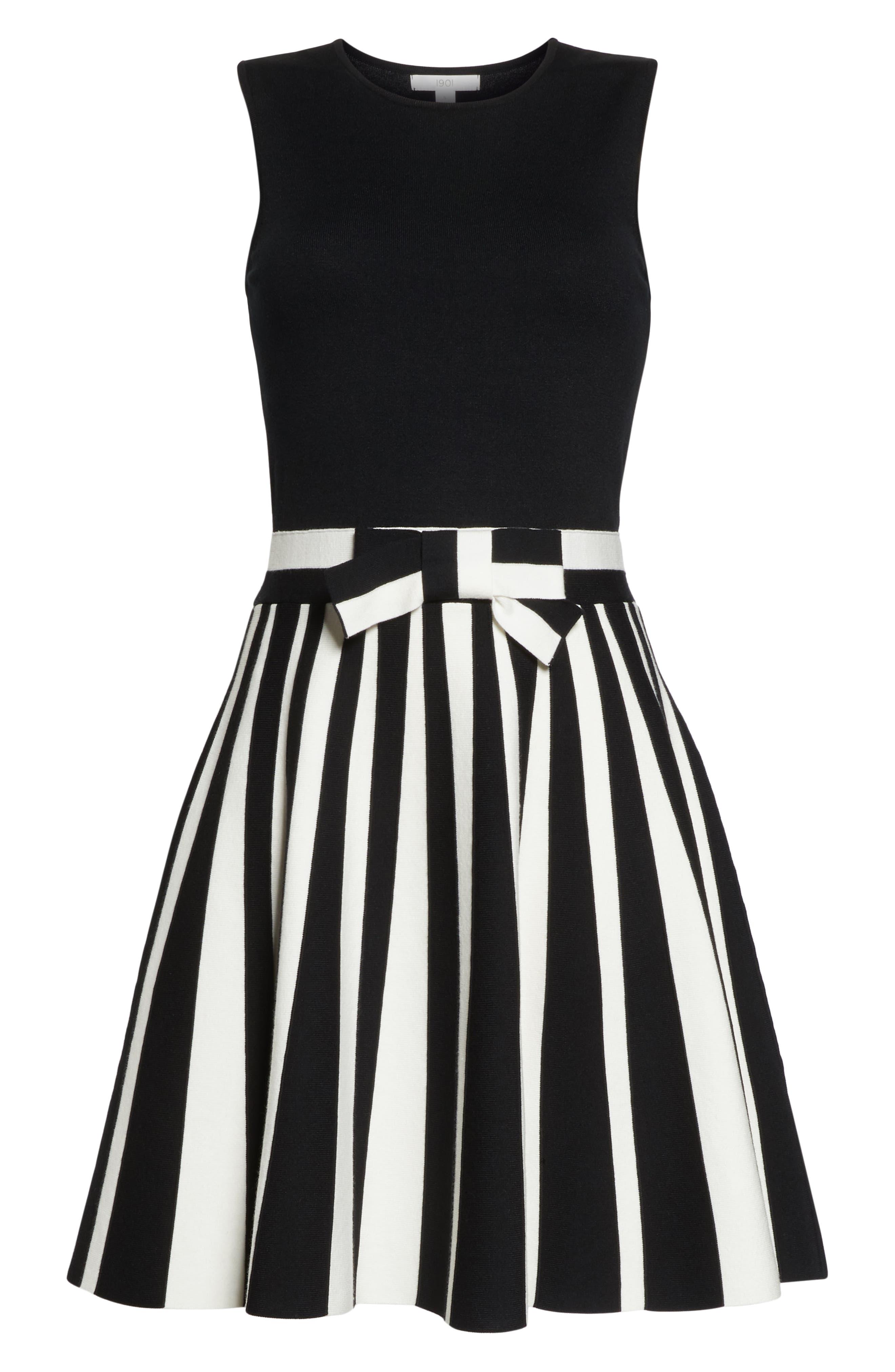 1901, Bow Front Sweater Dress, Alternate thumbnail 7, color, BLACK WHITE STRIPE