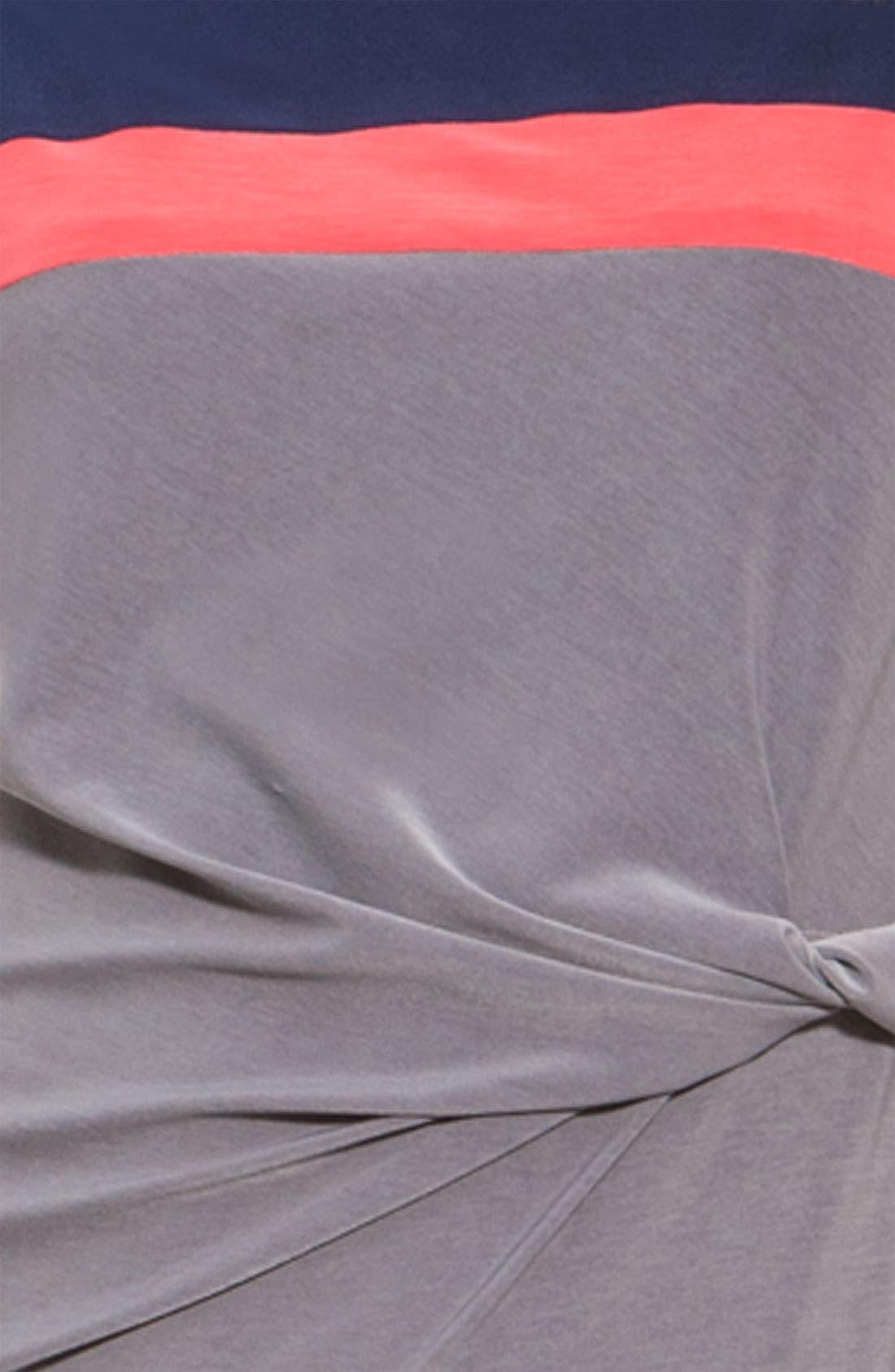 ALEX & AVA, Twist Front Colorblock Jersey Sheath Dress, Alternate thumbnail 2, color, 020