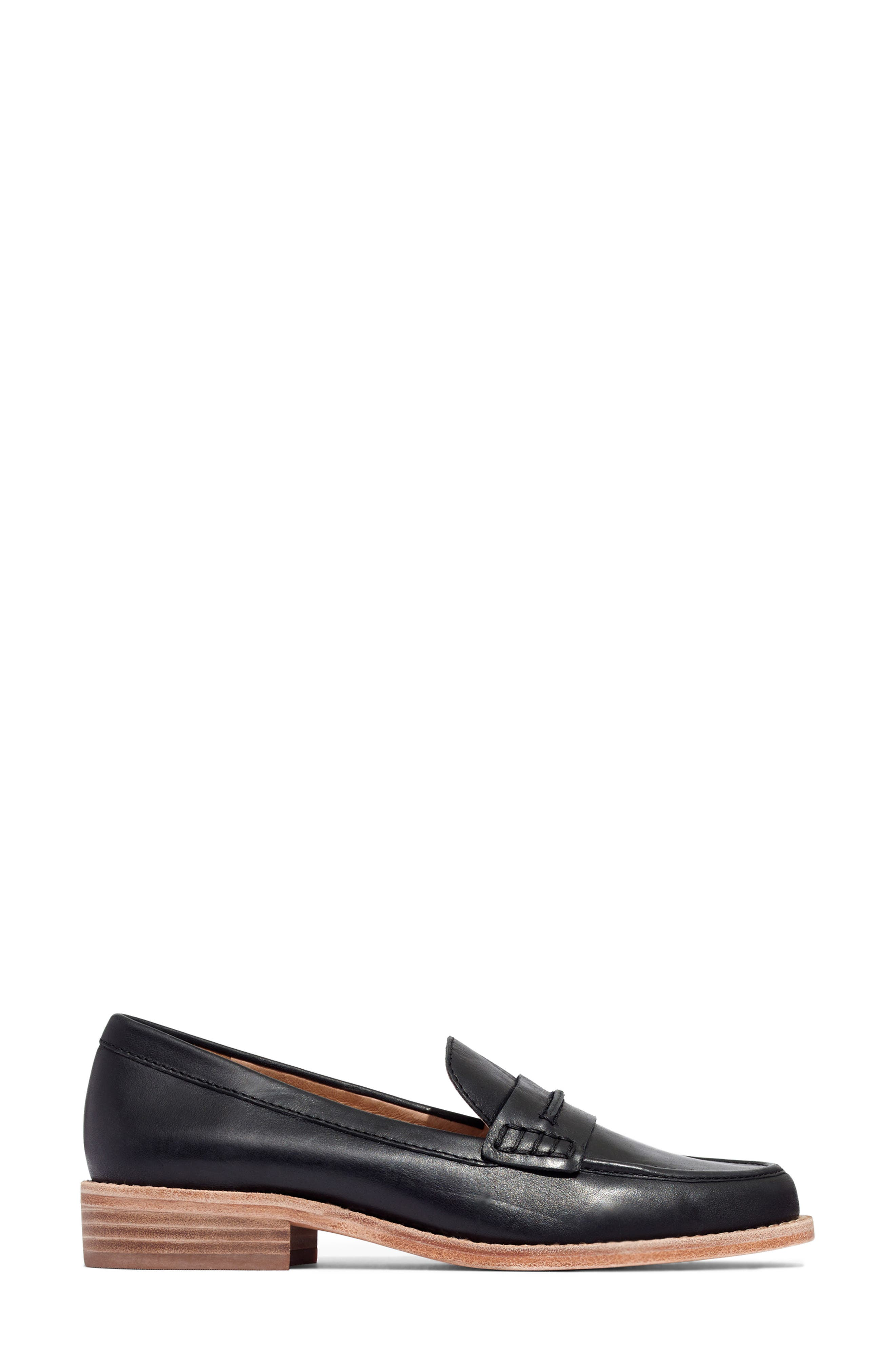MADEWELL, The Elinor Loafer, Alternate thumbnail 3, color, BLACK LEATHER