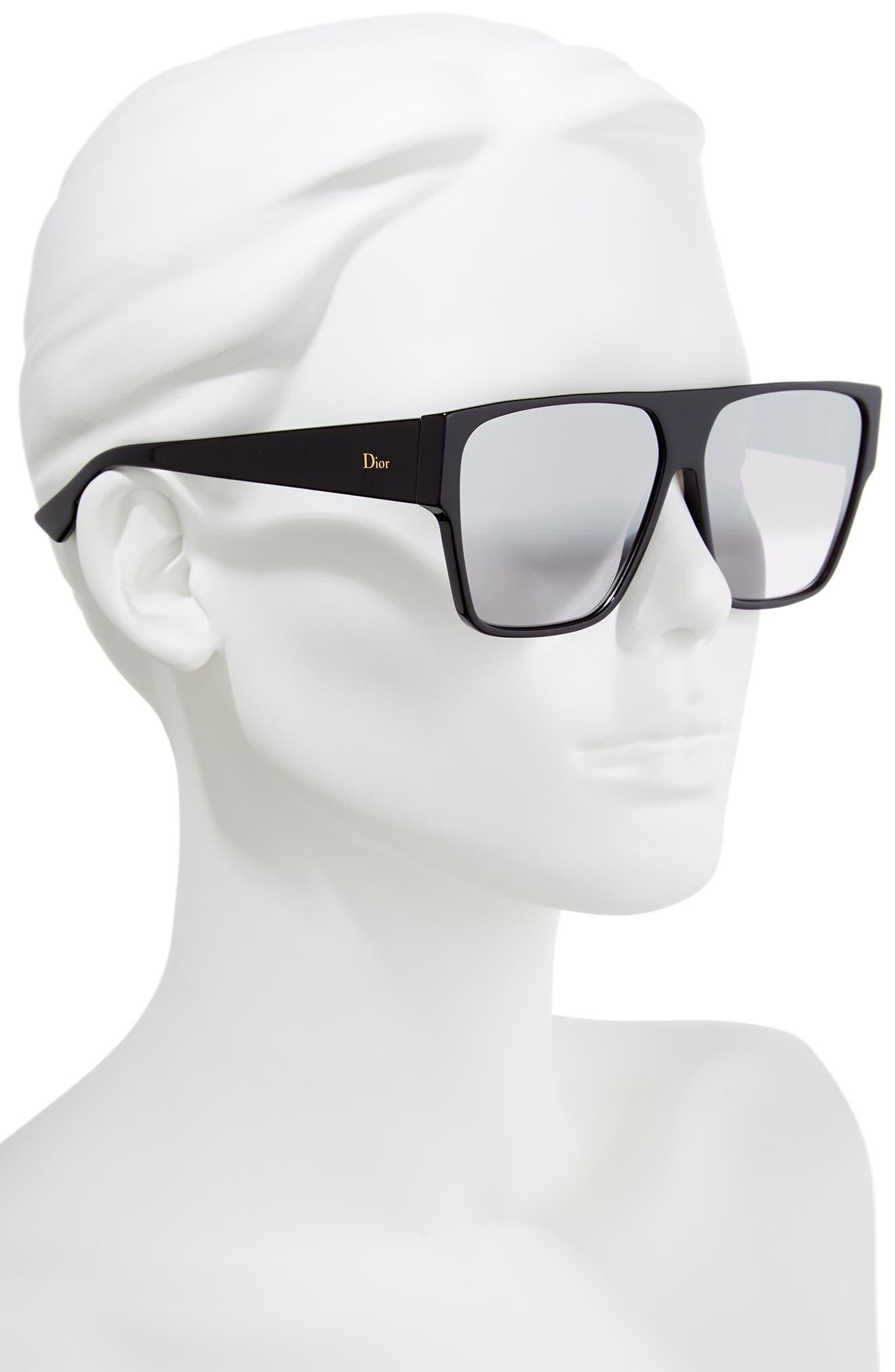 DIOR, 62mm Flat Top Square Sunglasses, Alternate thumbnail 2, color, BLACK