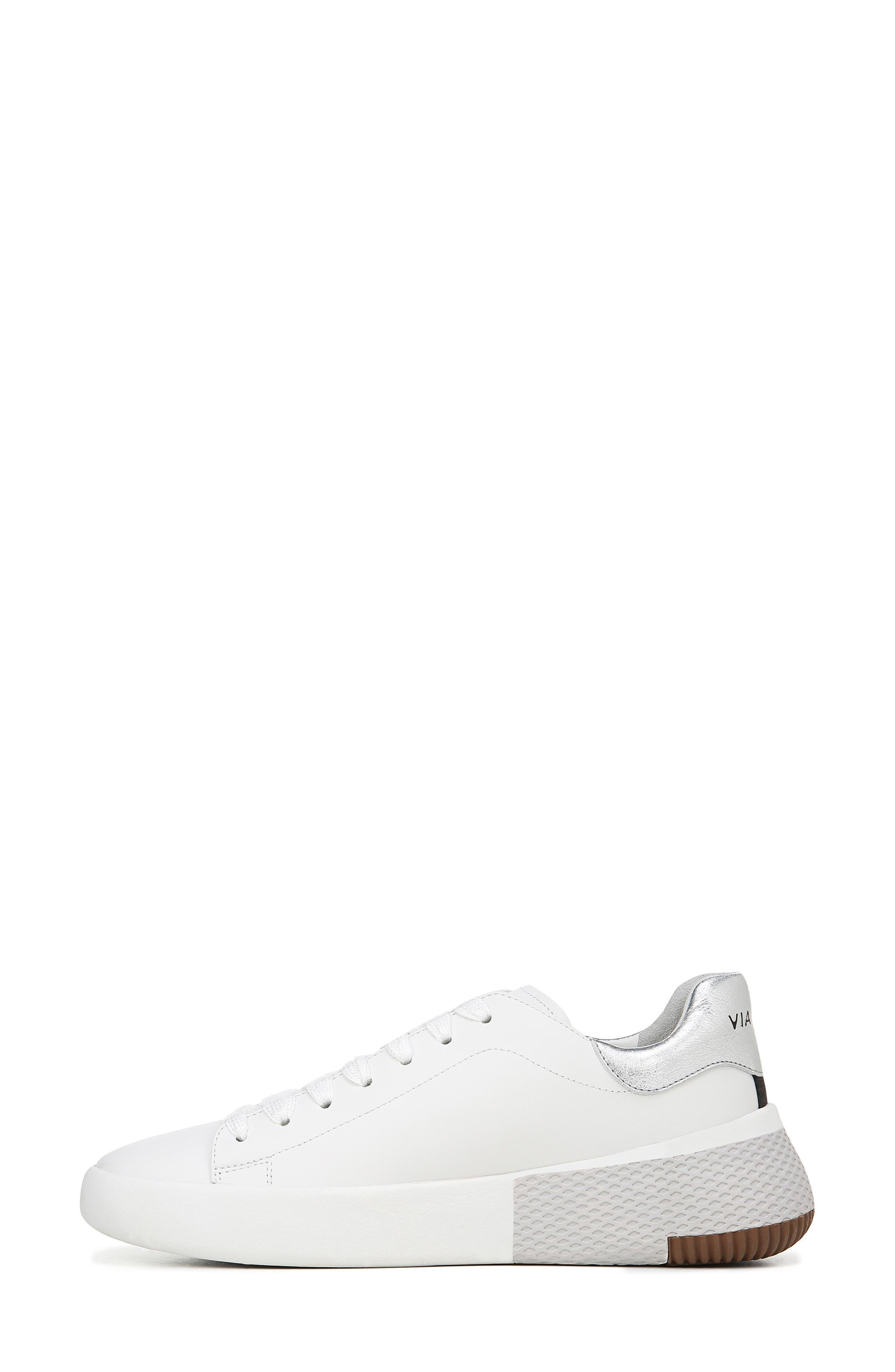 VIA SPIGA, Parrel Sneaker, Alternate thumbnail 8, color, PORCELAIN/ SILVER