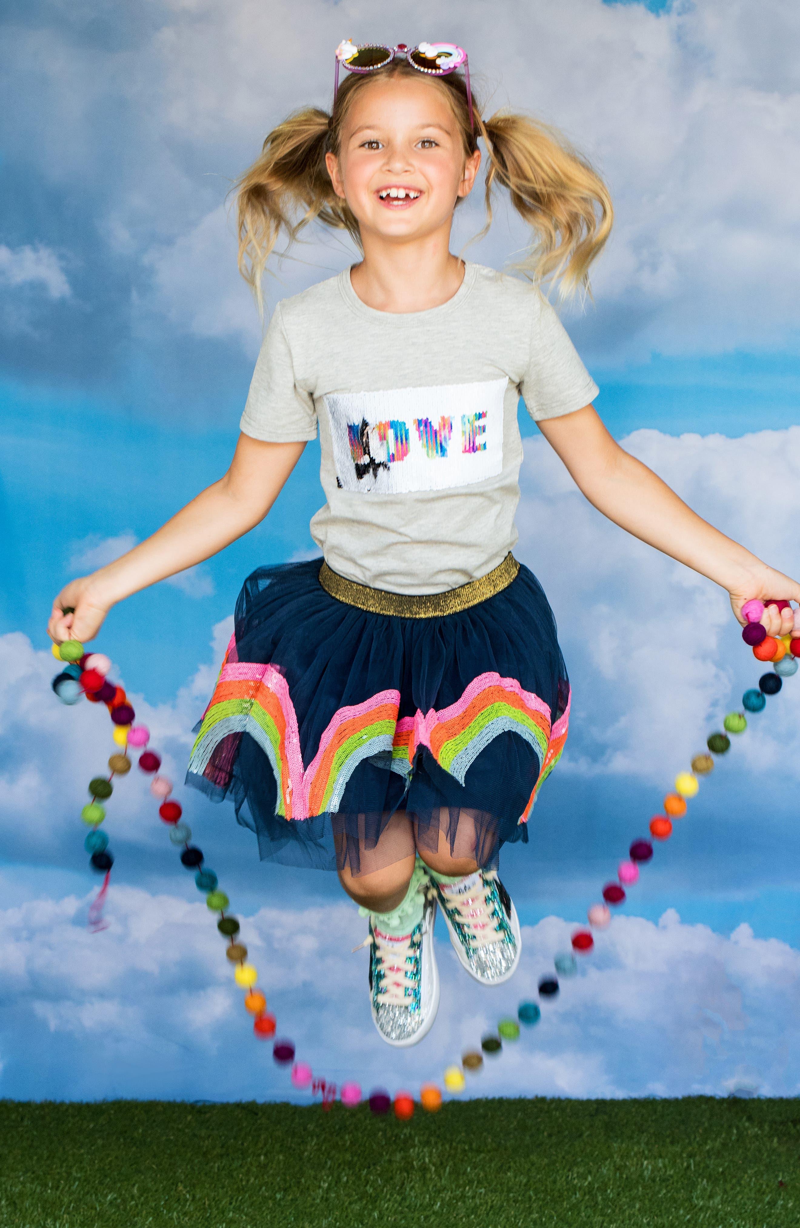 LOLA & THE BOYS, Rainbow Sequin Tutu Skirt, Alternate thumbnail 2, color, NAVY BLUE