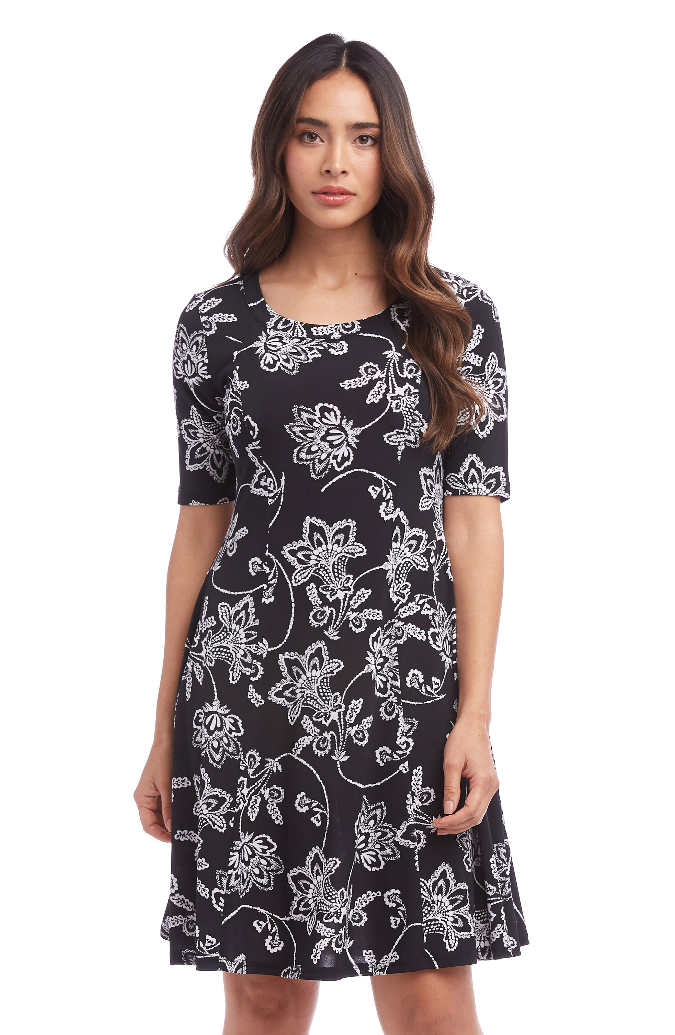 KAREN KANE, Printed A-Line Dress, Alternate thumbnail 3, color, BLACK WITH WHITE