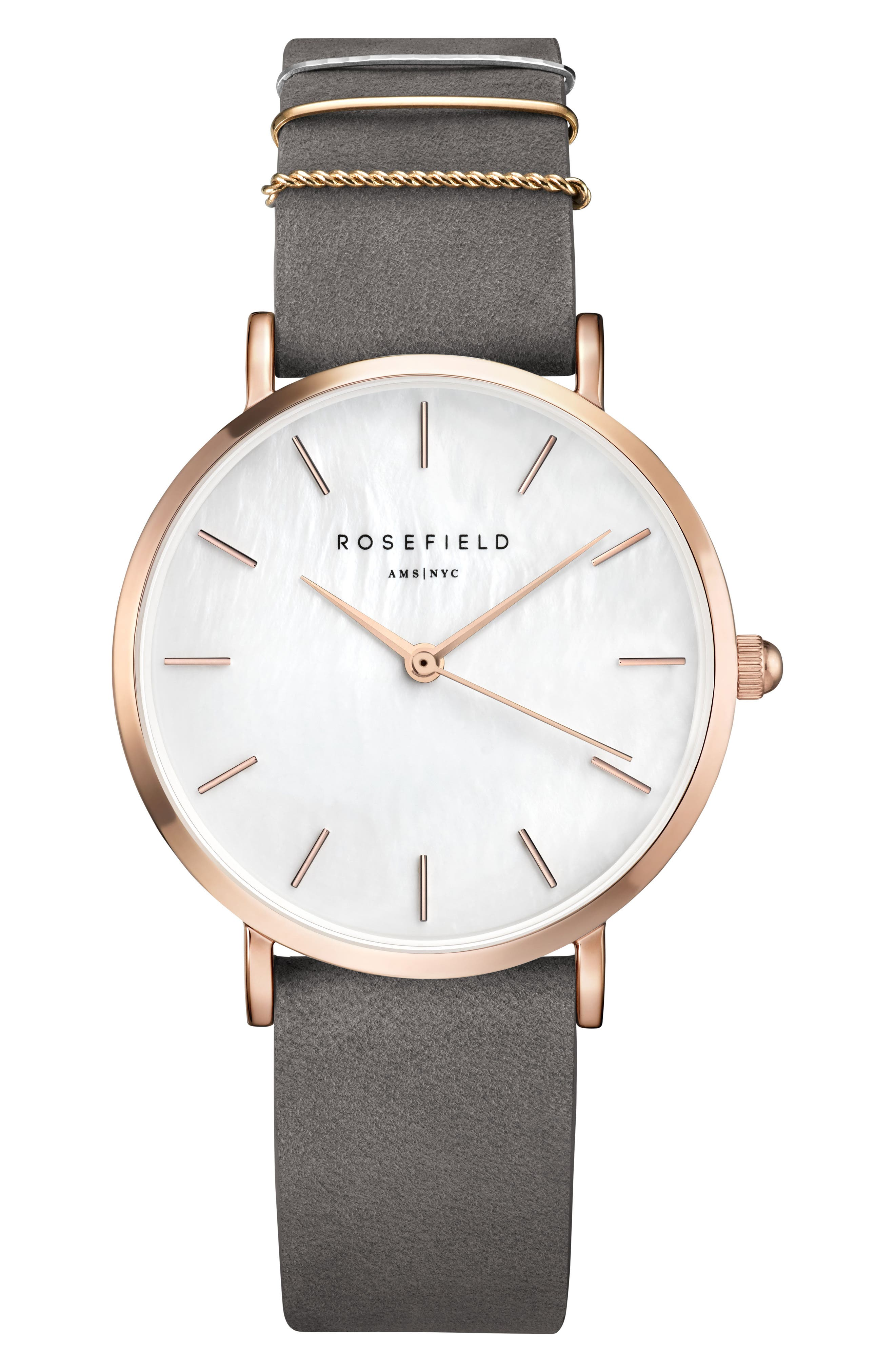 ROSEFIELD, West Village Leather Strap Watch, 33mm, Main thumbnail 1, color, GREY/ WHITE PEARL/ ROSE GOLD
