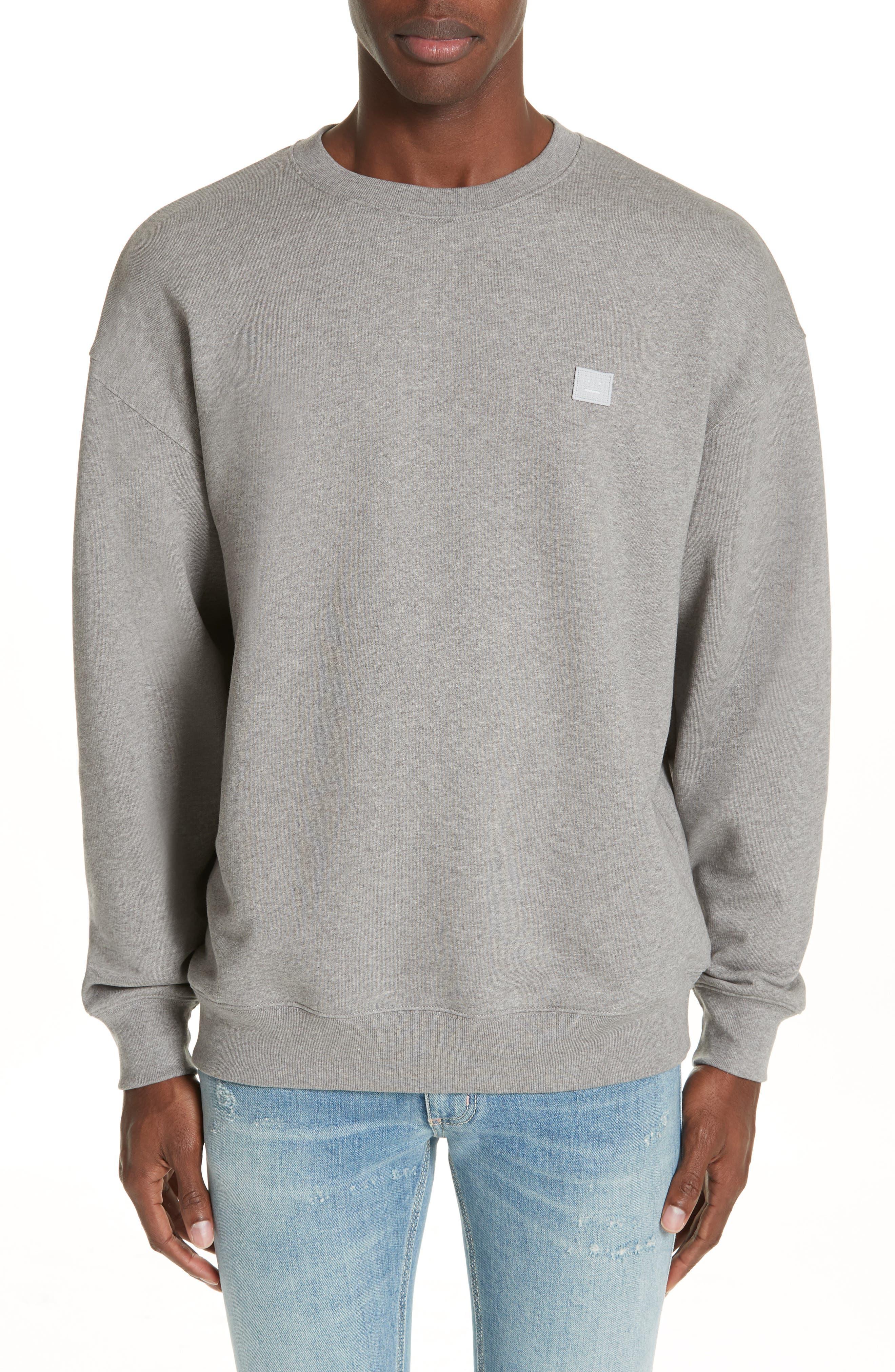 ACNE STUDIOS Forba Face Sweatshirt, Main, color, LIGHT GREY MELANGE