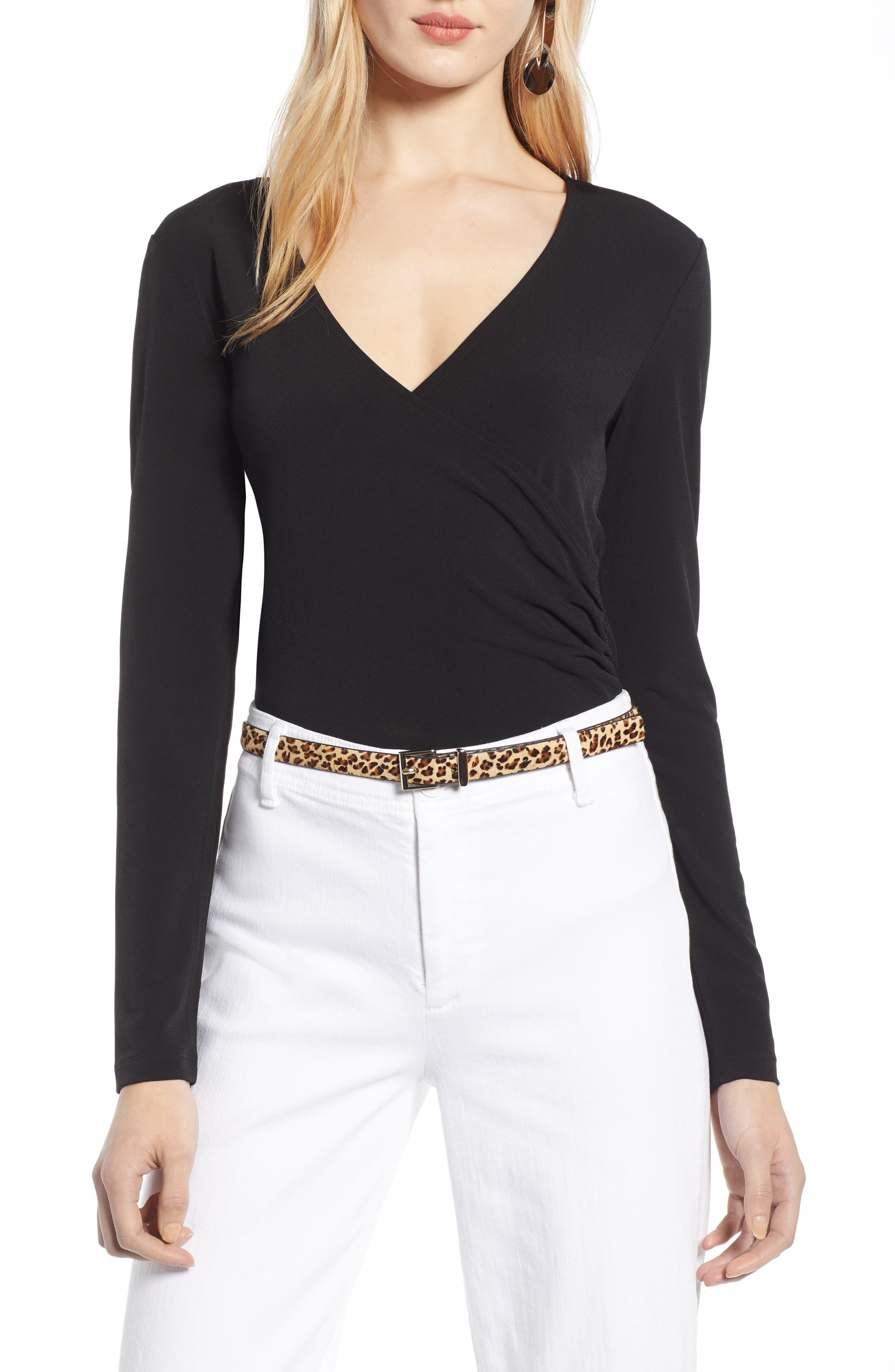 HALOGEN<SUP>®</SUP> Surplice Knit Top, Main, color, BLACK