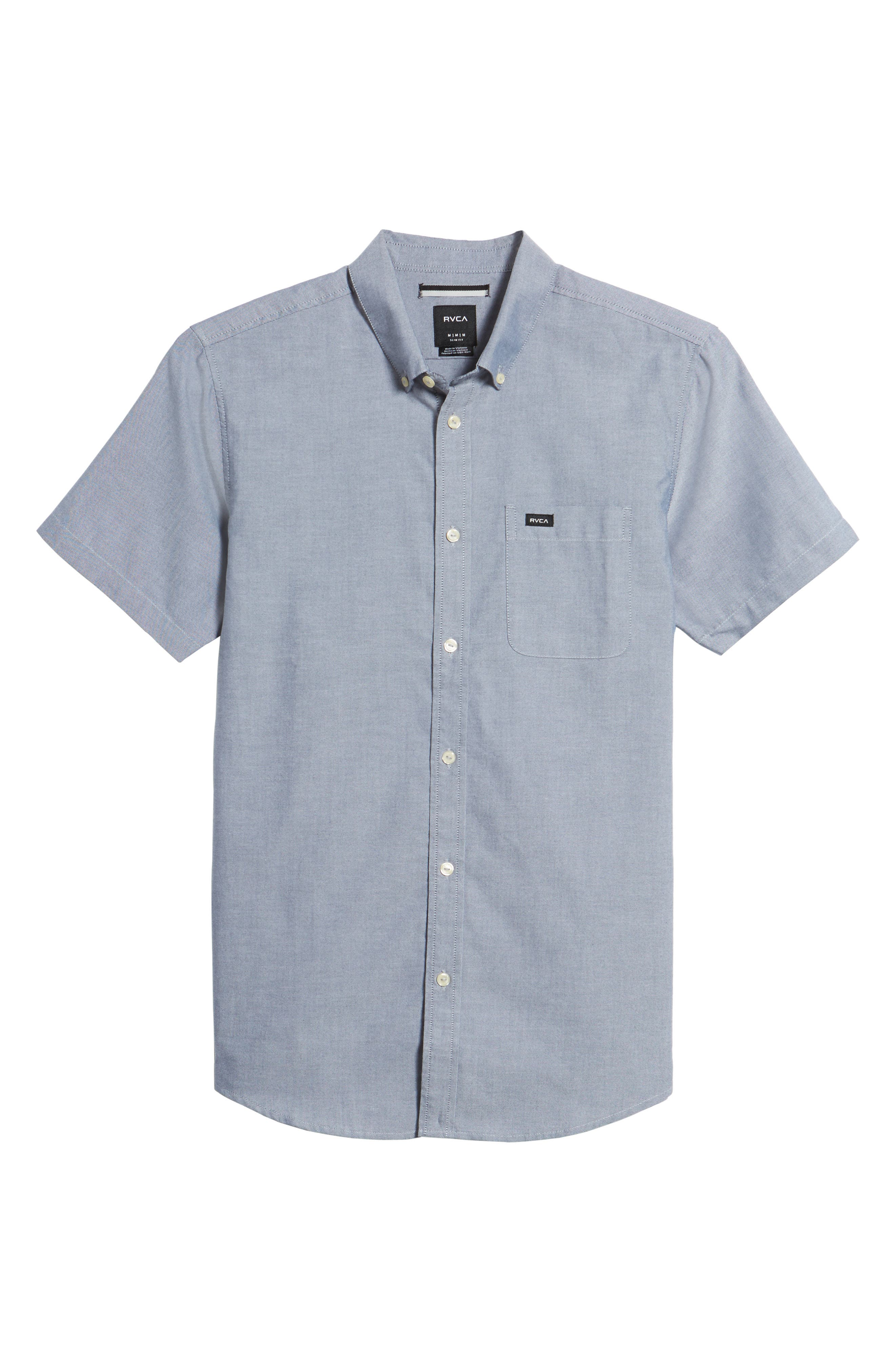 RVCA 'That'll Do' Slim Fit Short Sleeve Oxford Shirt, Main, color, DISTANT BLUE