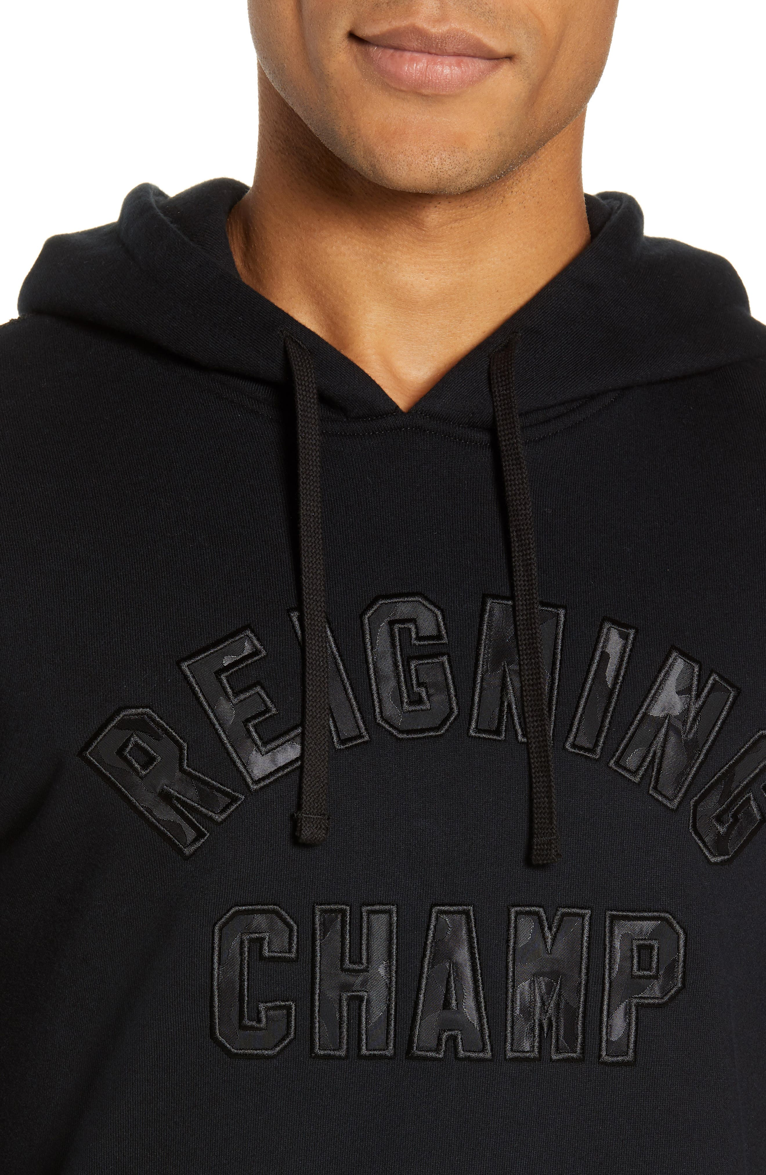 REIGNING CHAMP, Club Logo Hooded Sweatshirt, Alternate thumbnail 4, color, BLACK