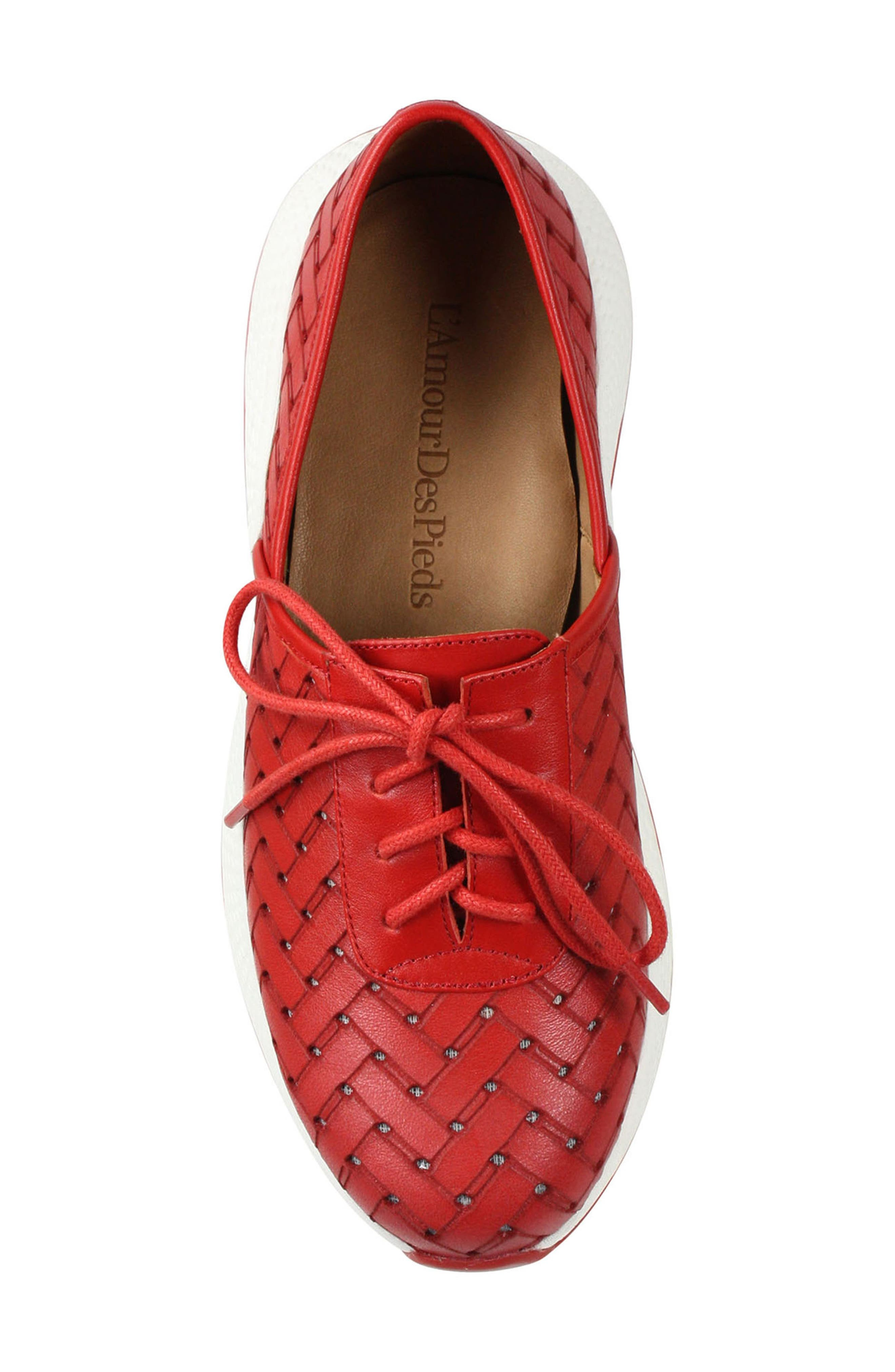 L'AMOUR DES PIEDS, Helodie Sneaker, Alternate thumbnail 5, color, RED LEATHER