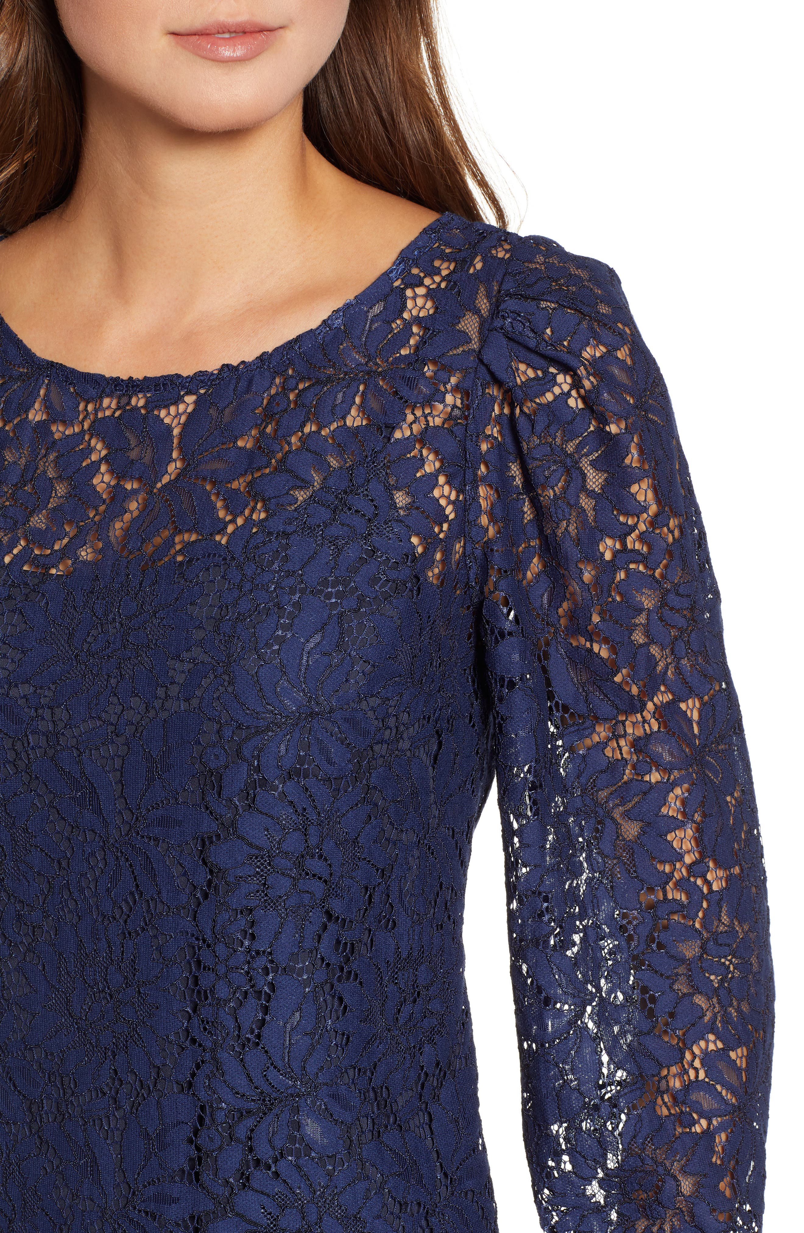 ROSEMUNDE, Tie Back Lace Dress, Alternate thumbnail 5, color, NAVY PEONY