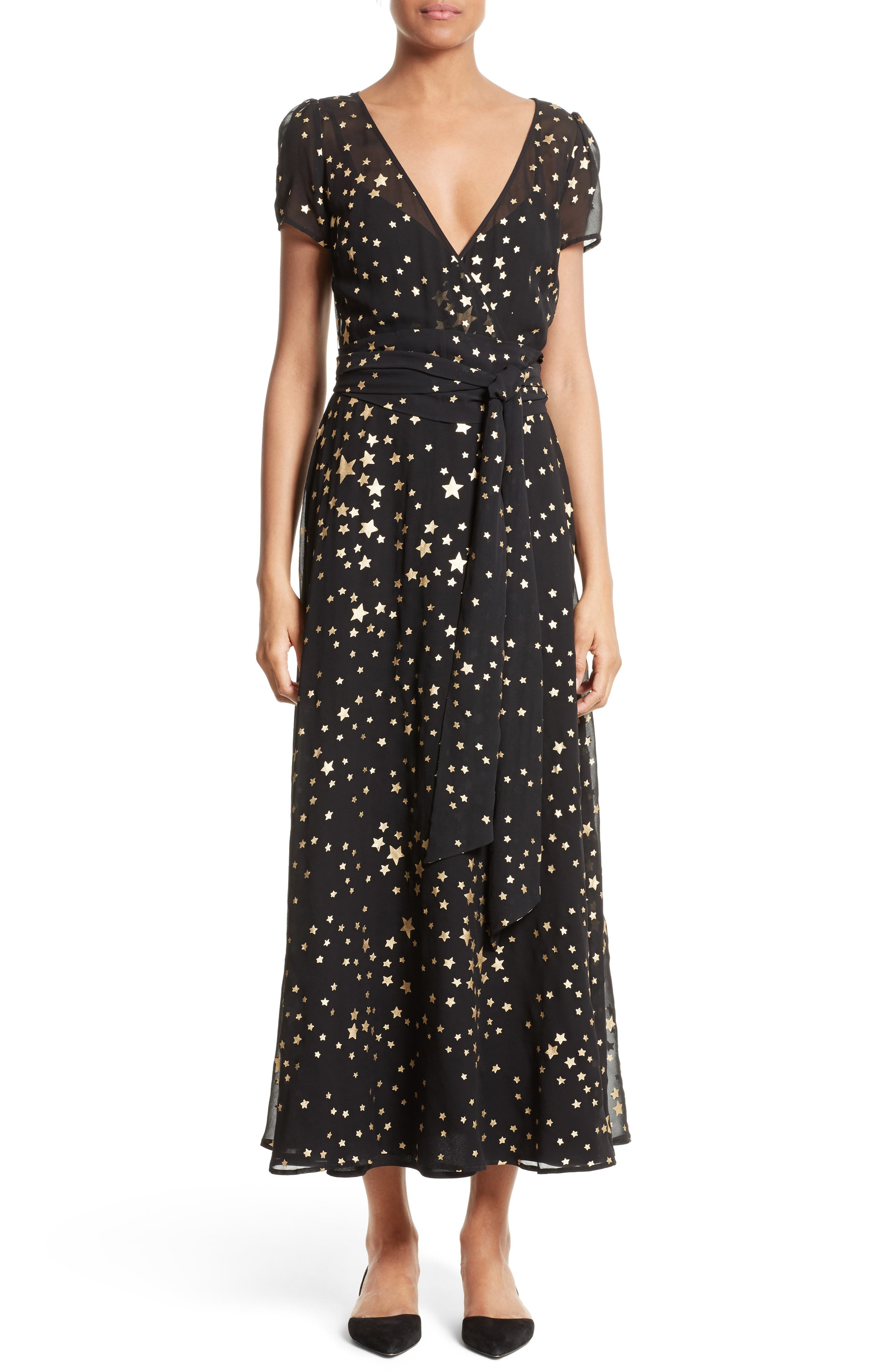 RED VALENTINO, Lamé Star Wrap Maxi Dress, Main thumbnail 1, color, 001