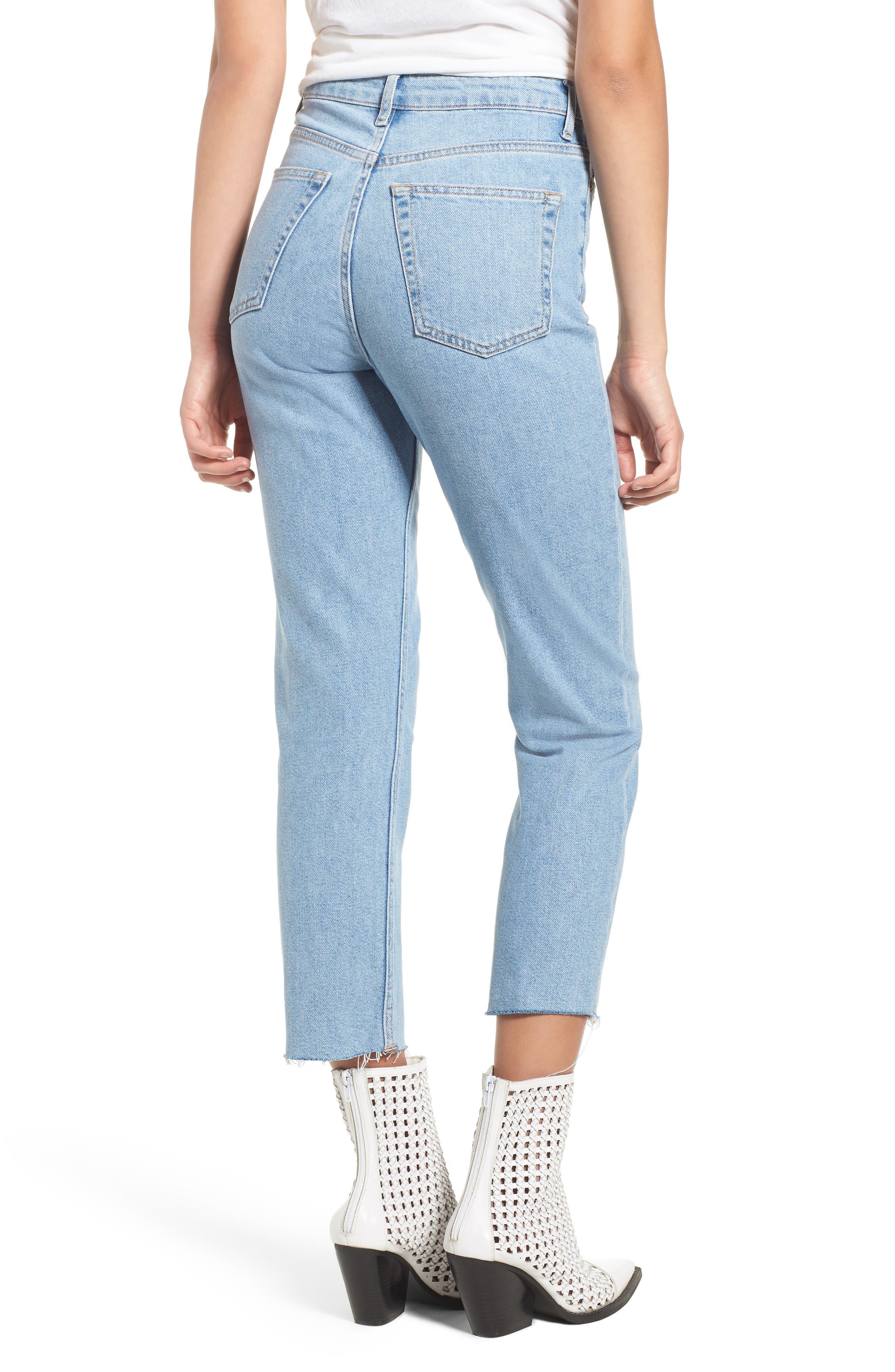 TOPSHOP, Raw Hem Straight Leg Jeans, Alternate thumbnail 2, color, BLEACH STONE DENIM