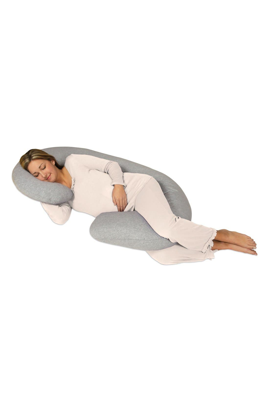 LEACHCO, Snoogle Chic Full Body Pregnancy Support Pillow with Jersey Cover, Alternate thumbnail 3, color, HEATHER GREY