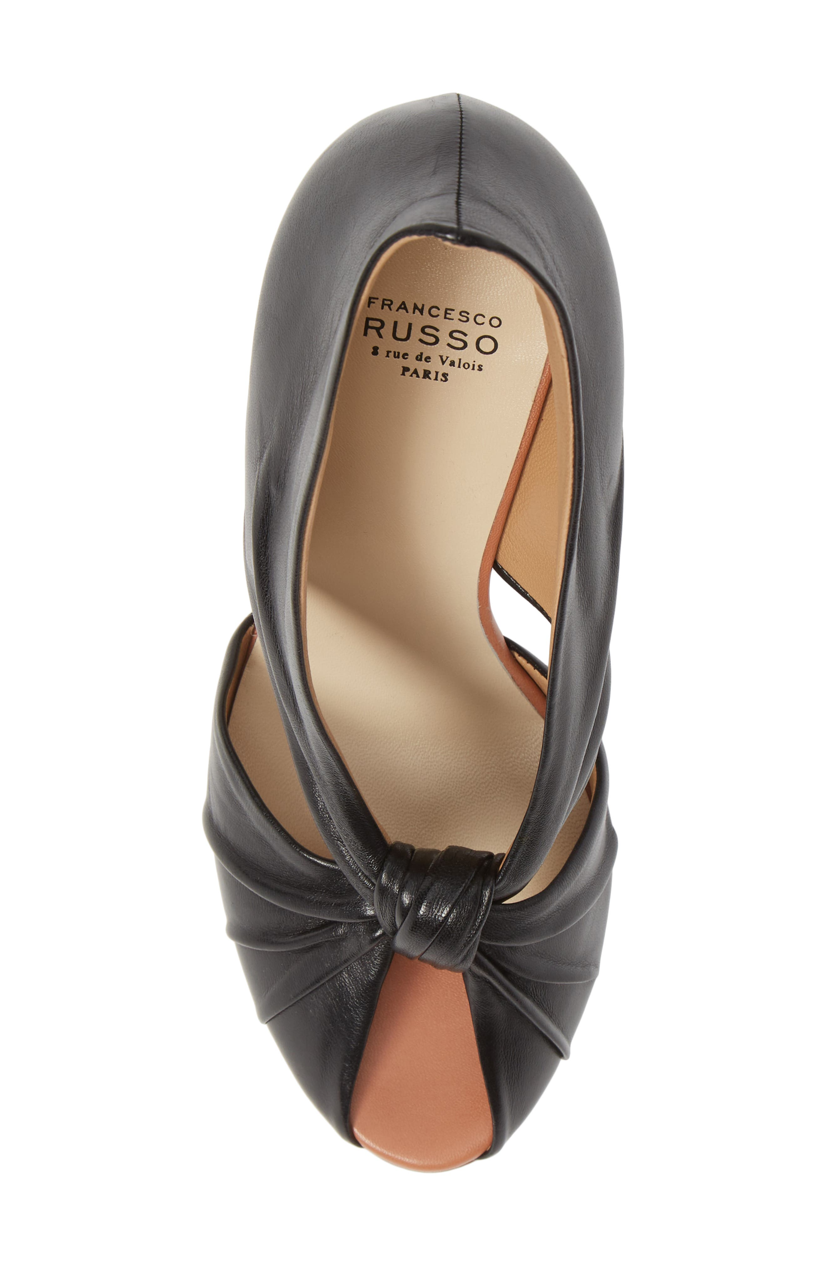 FRANCESCO RUSSO, Knotted Peep Toe Pump, Alternate thumbnail 5, color, BLACK