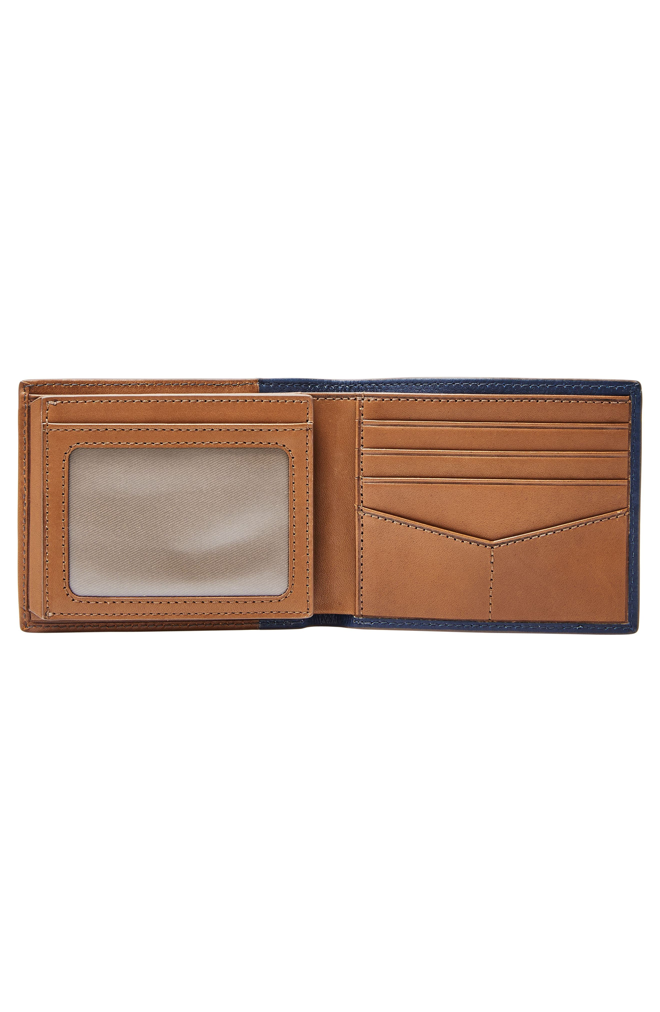 FOSSIL, Ward Leather Wallet, Alternate thumbnail 3, color, NAVY
