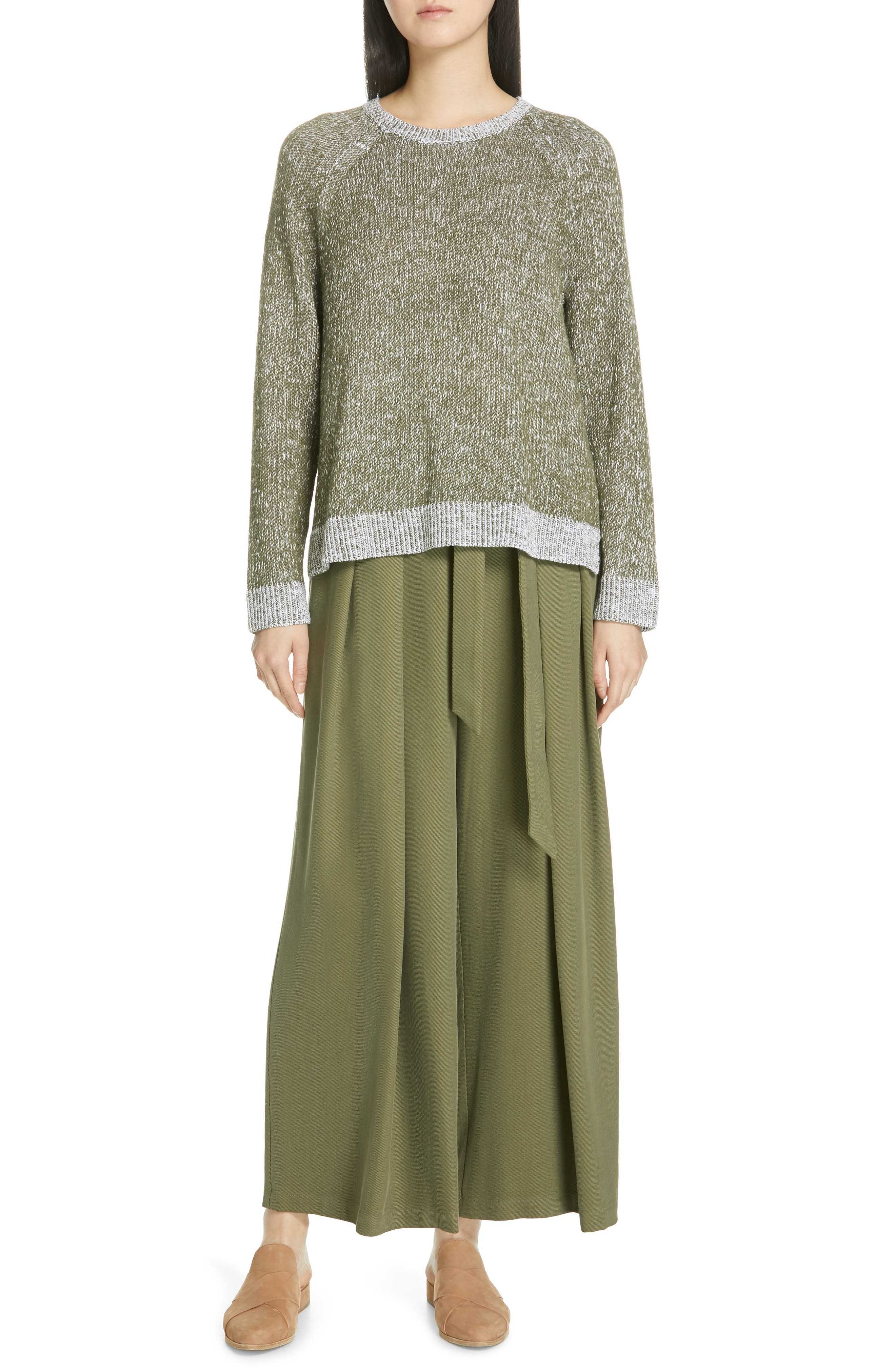 EILEEN FISHER, Belted Wide Leg Pants, Alternate thumbnail 8, color, 301