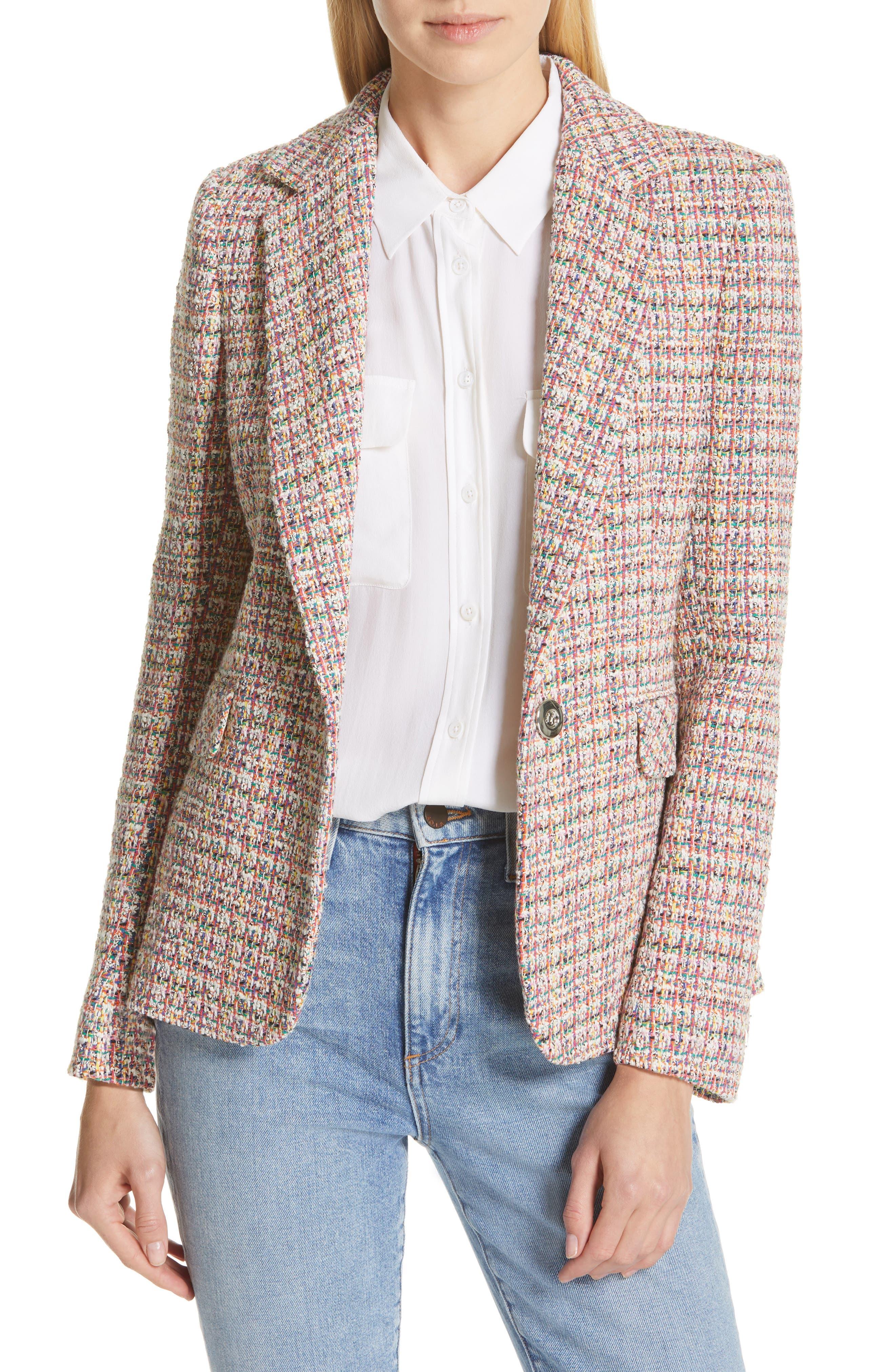 HELENE BERMAN, Colorful Tweed Blazer, Main thumbnail 1, color, ORANGE