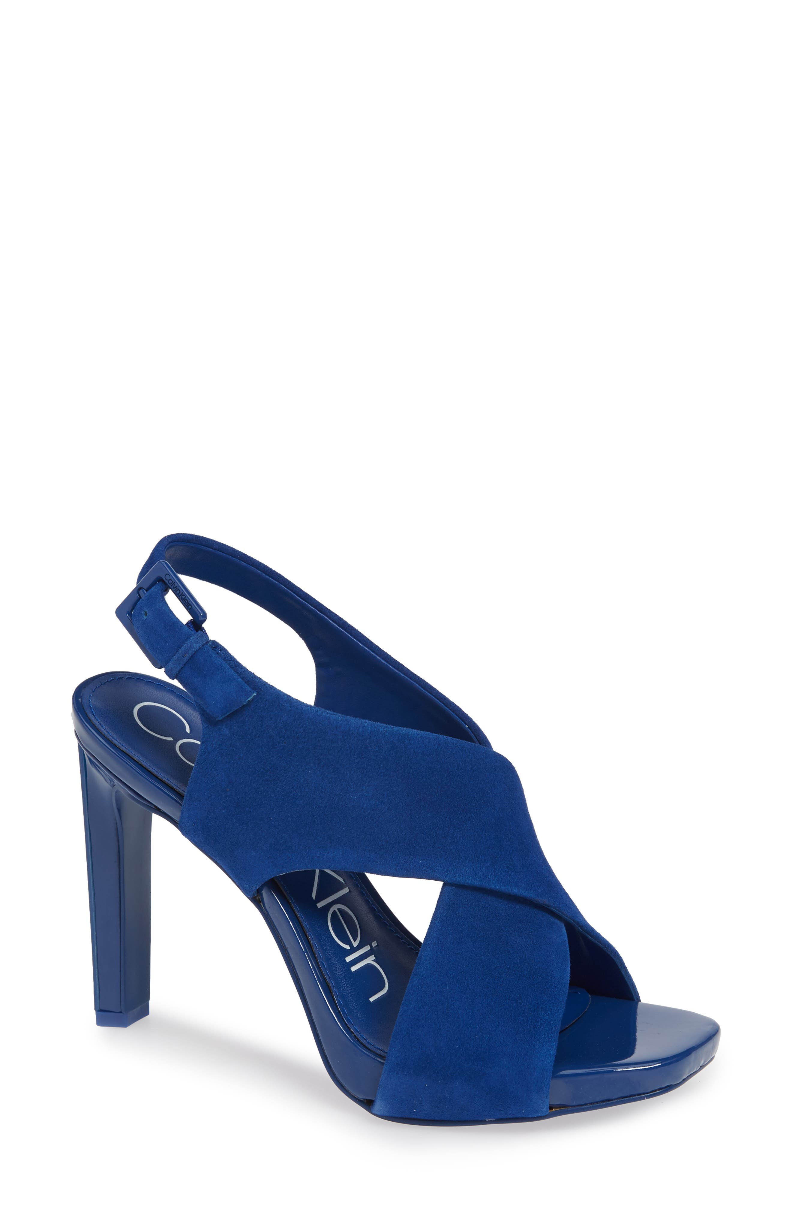 CALVIN KLEIN, Myra Cross Strap Sandal, Main thumbnail 1, color, ROYAL BLUE SUEDE