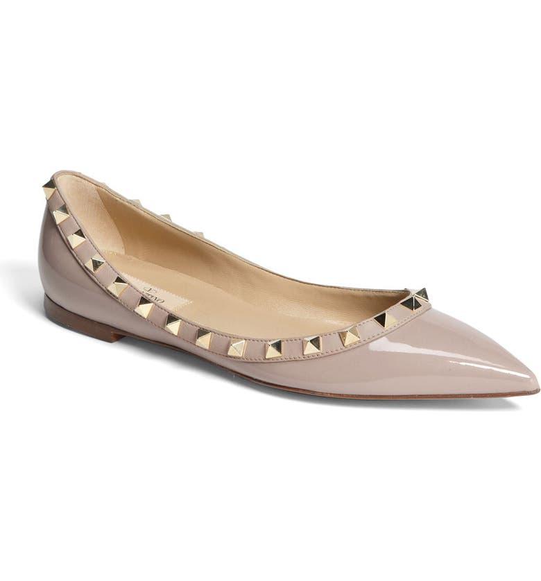 Valentino Rockstud Leather Ballet Flats In Neutrals