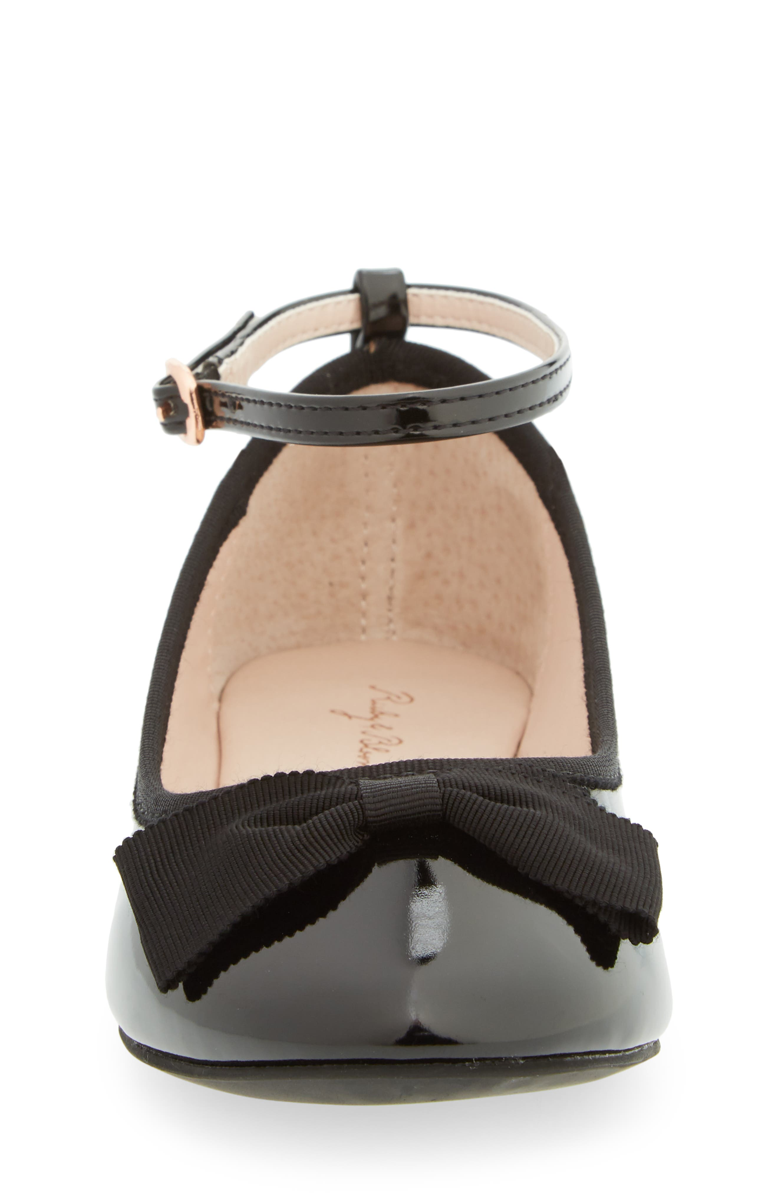 RUBY & BLOOM, Pipa Ankle Strap Ballet Flat, Alternate thumbnail 4, color, BLACK FAUX PATENT
