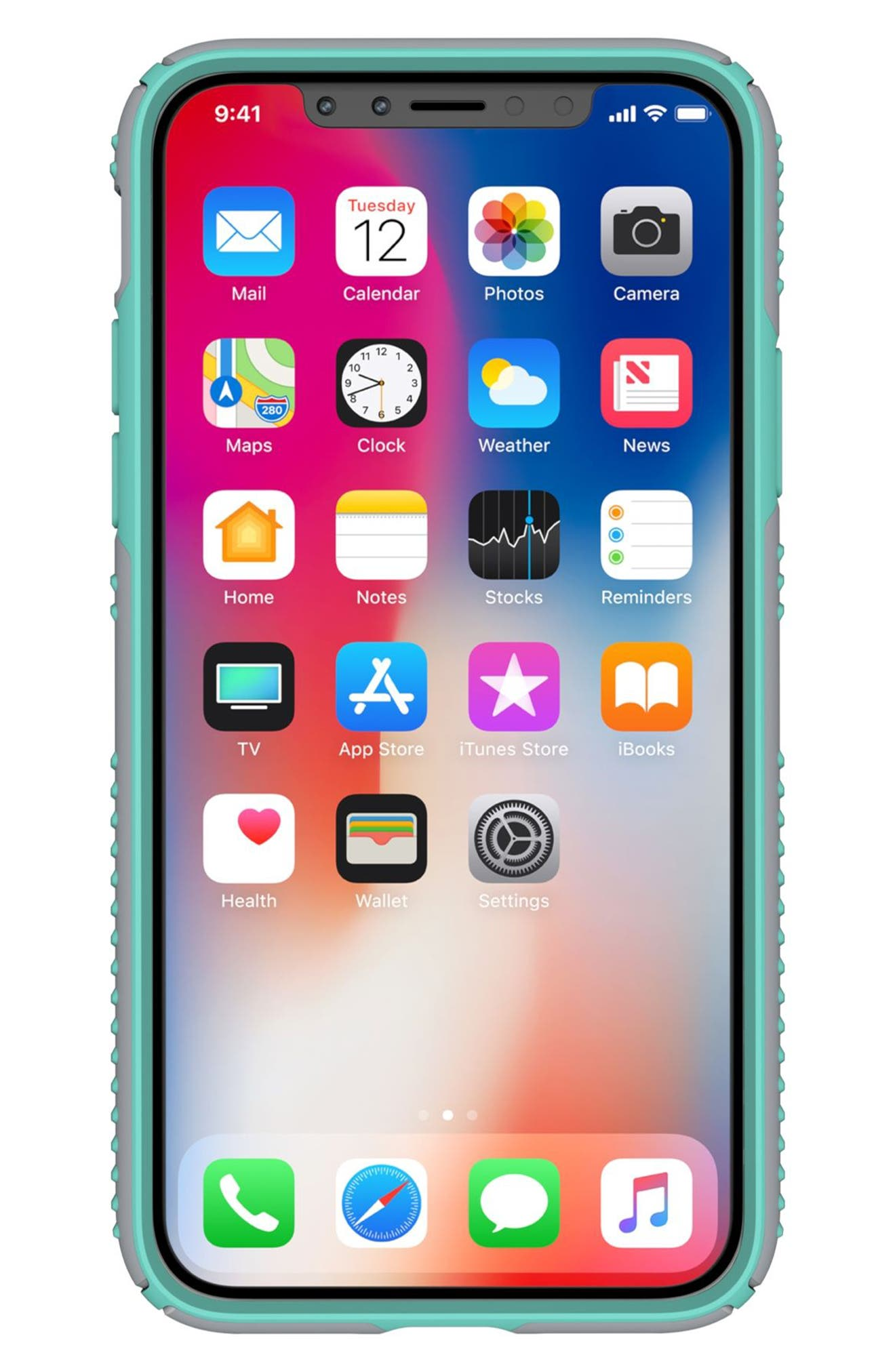 SPECK, iPhone X & Xs Case, Alternate thumbnail 3, color, DOLPHIN GREY/ ALOE GREEN