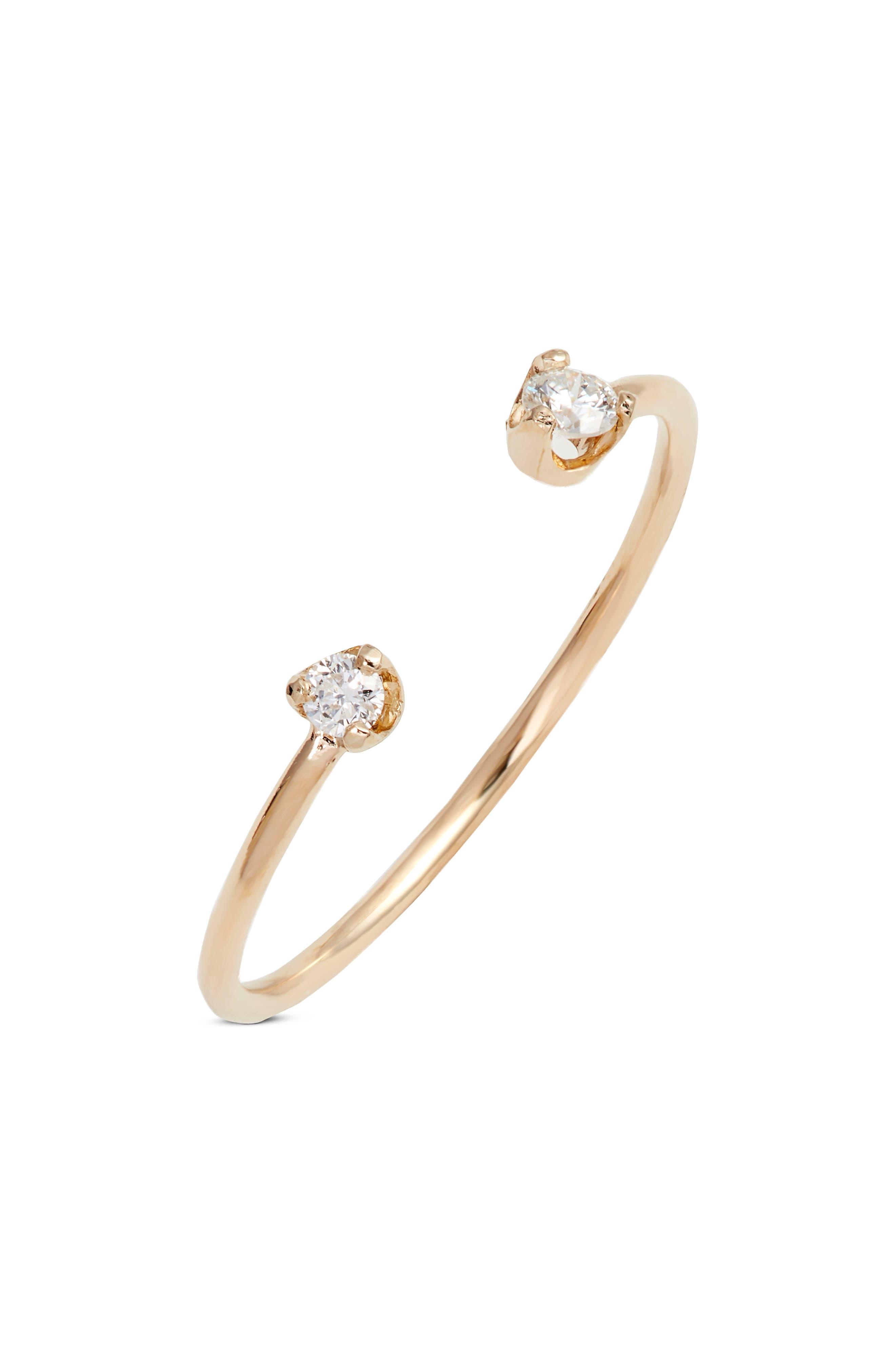 ZOË CHICCO, Diamond Open Ring, Main thumbnail 1, color, GOLD/ DIAMOND