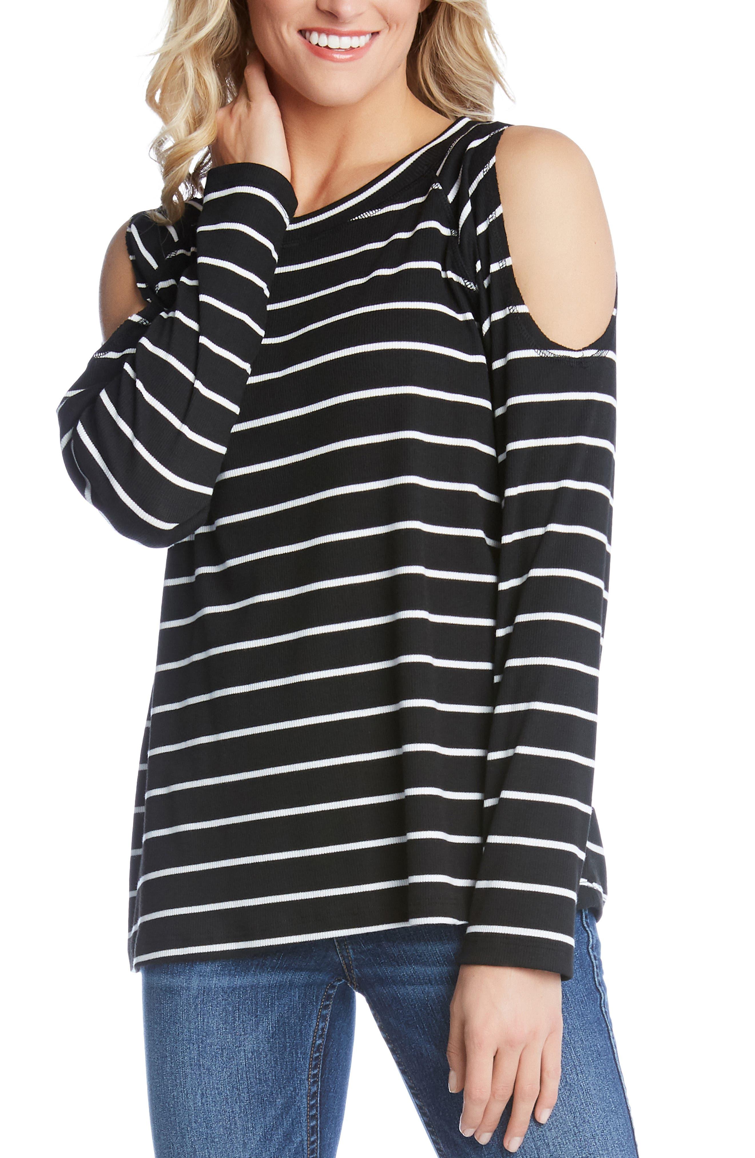 KAREN KANE Cold Shoulder Top, Main, color, STRIPE