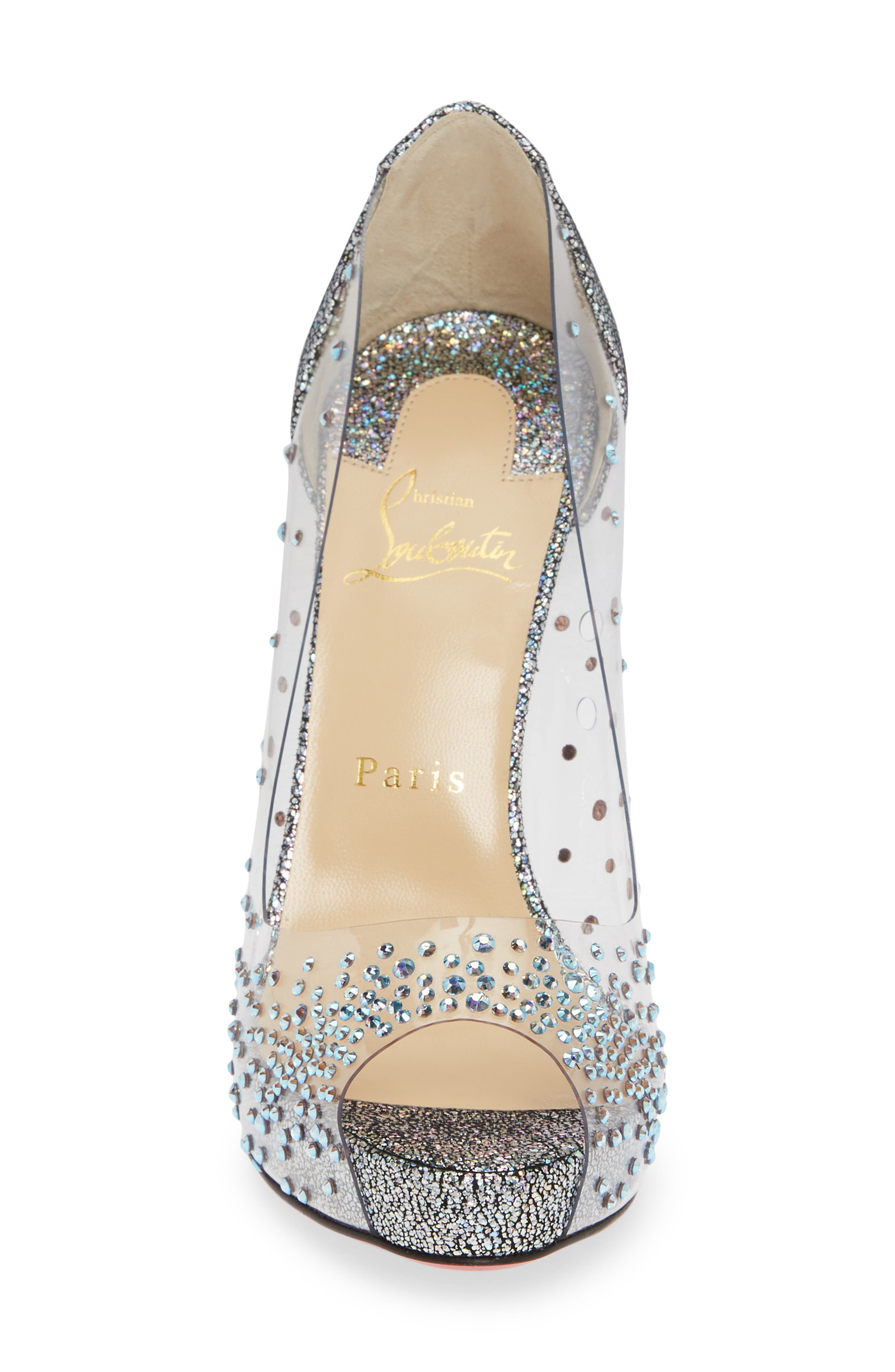 CHRISTIAN LOUBOUTIN, Very Strass Embellished Peep Toe Pump, Alternate thumbnail 4, color, SILVER