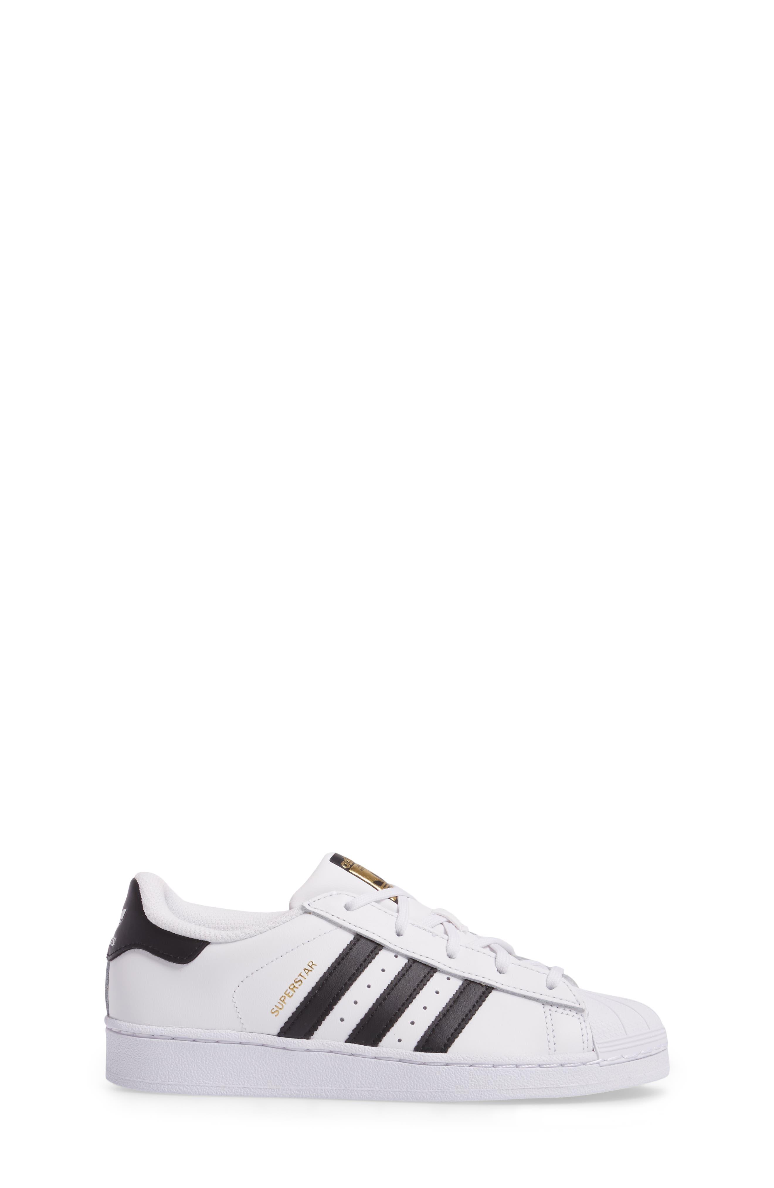 ADIDAS, 'Superstar Foundation' Sneaker, Alternate thumbnail 3, color, WHITE/ BLACK