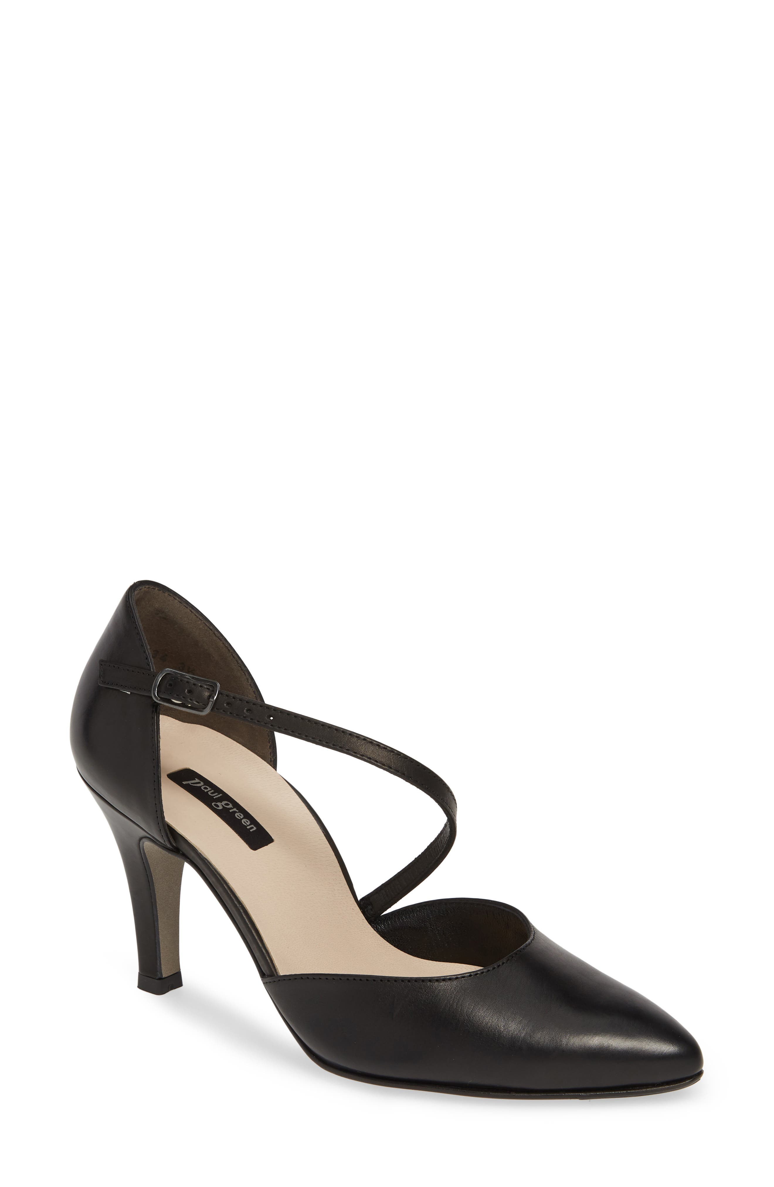 PAUL GREEN Valetta Pointy Toe Pump, Main, color, BLACK LEATHER