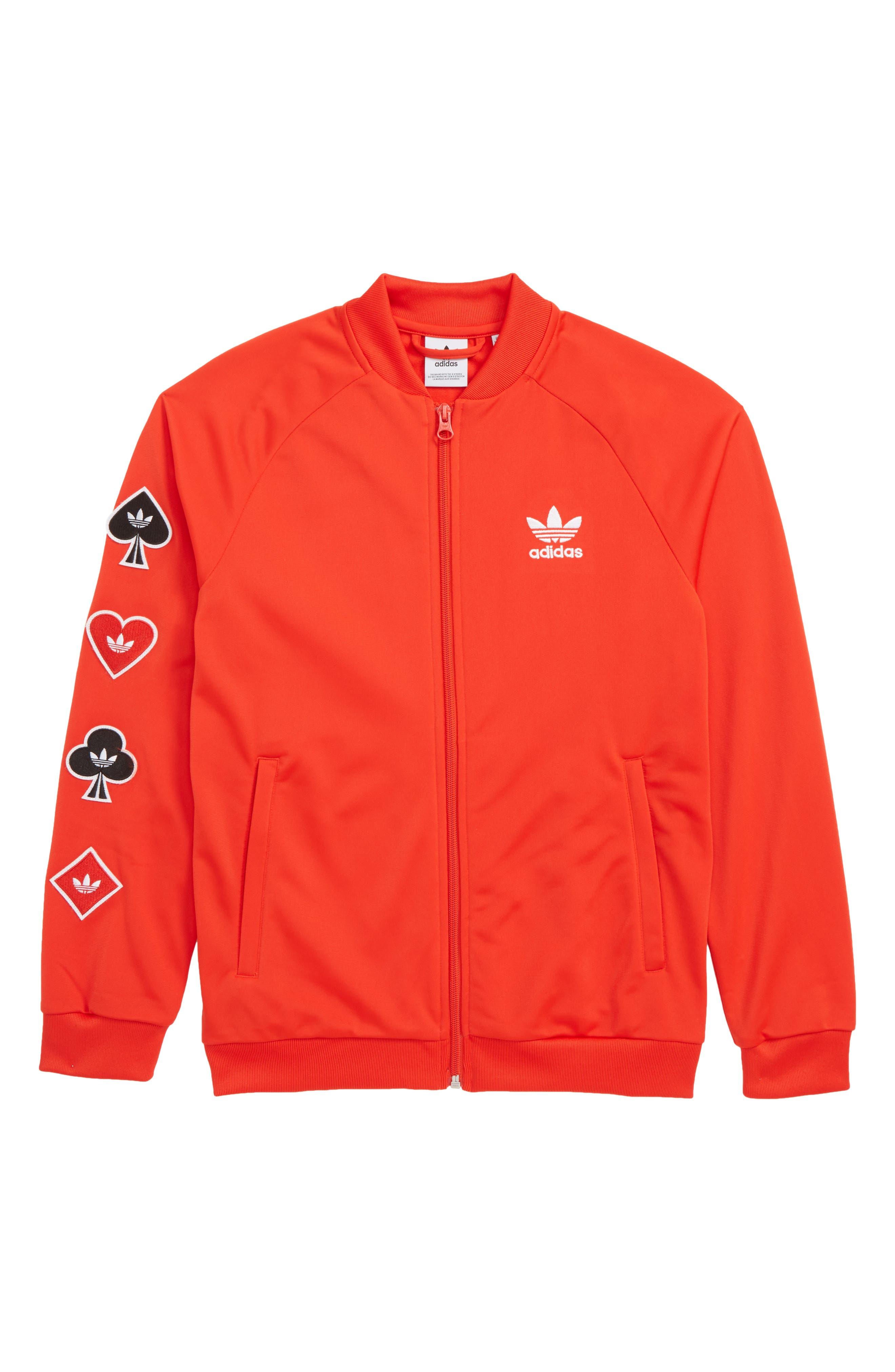 ADIDAS ORIGINALS, V-Day Superstar Jacket, Main thumbnail 1, color, ACTIVE RED
