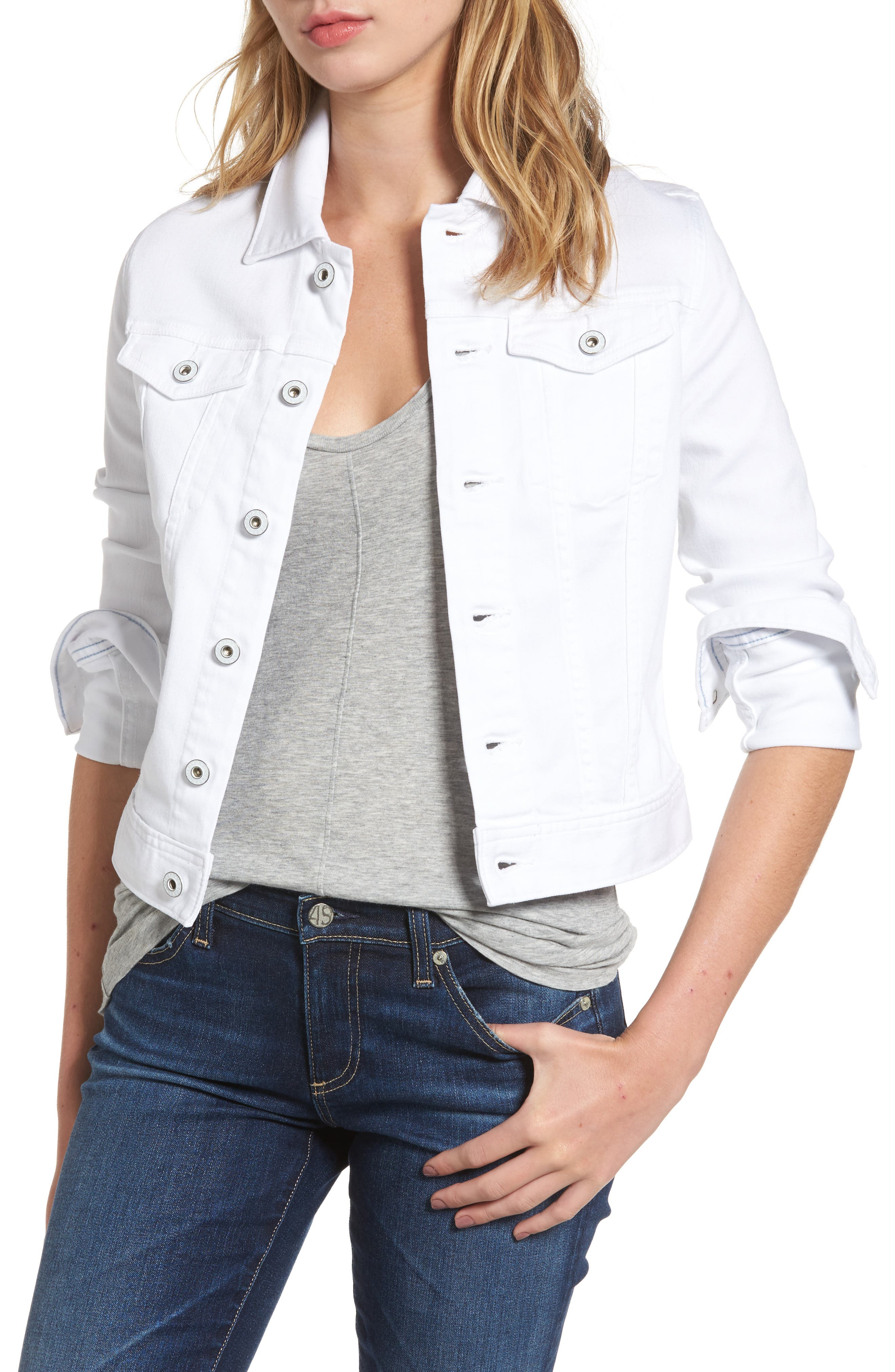 AG, 'Robyn' Denim Jacket, Main thumbnail 1, color, WHITE