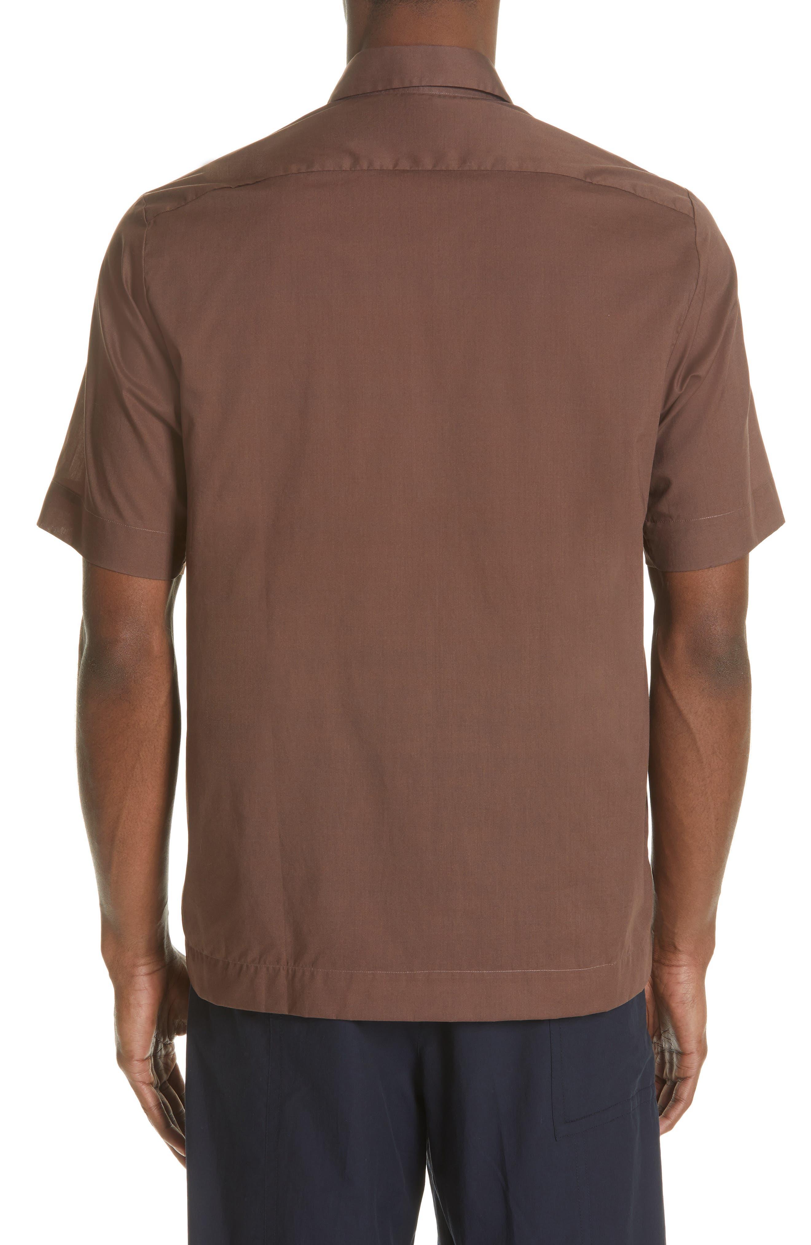DRIES VAN NOTEN, Clasen Hand Print Shirt, Alternate thumbnail 3, color, BROWN