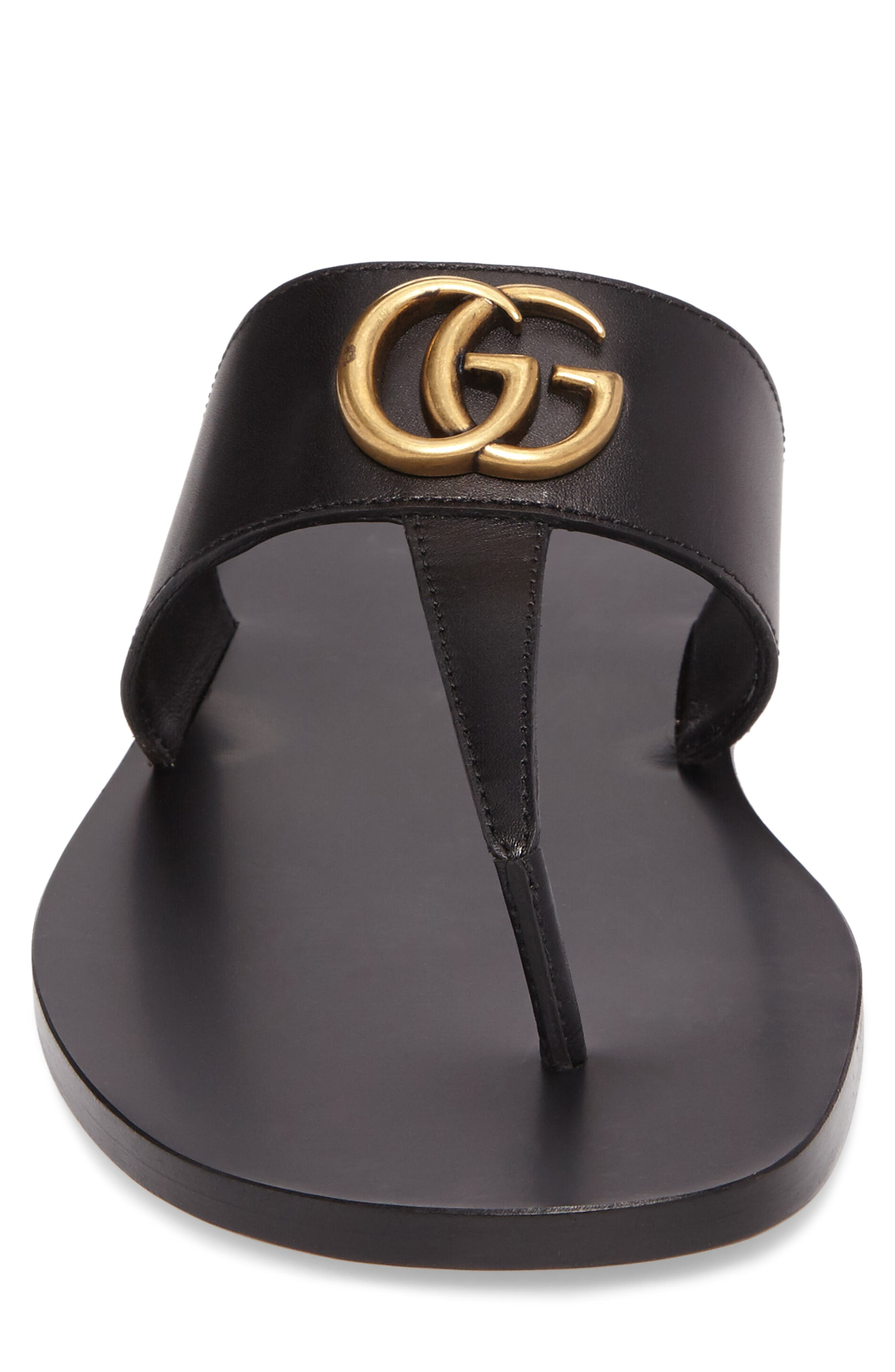 GUCCI, Marmont Double G Leather Thong Sandal, Alternate thumbnail 4, color, BLACK/ GOLD
