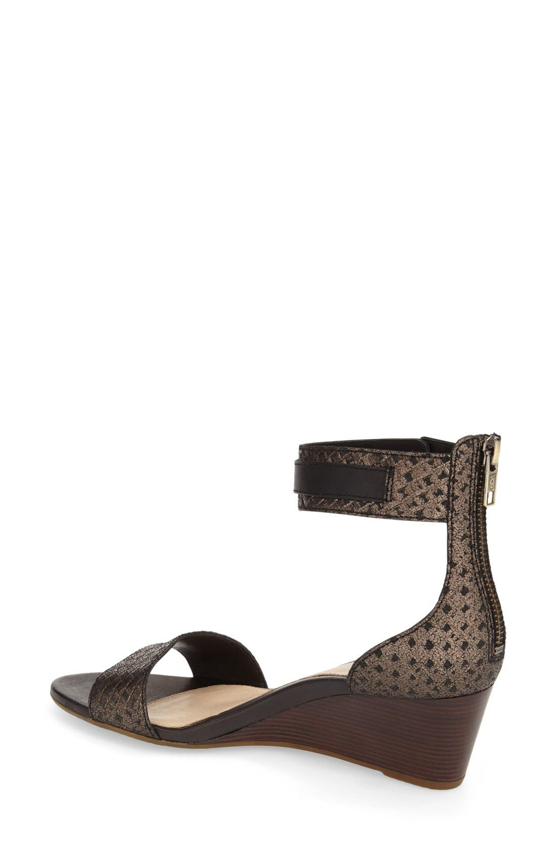 UGG<SUP>®</SUP>, 'Char' Ankle Strap Wedge Sandal, Alternate thumbnail 2, color, 002