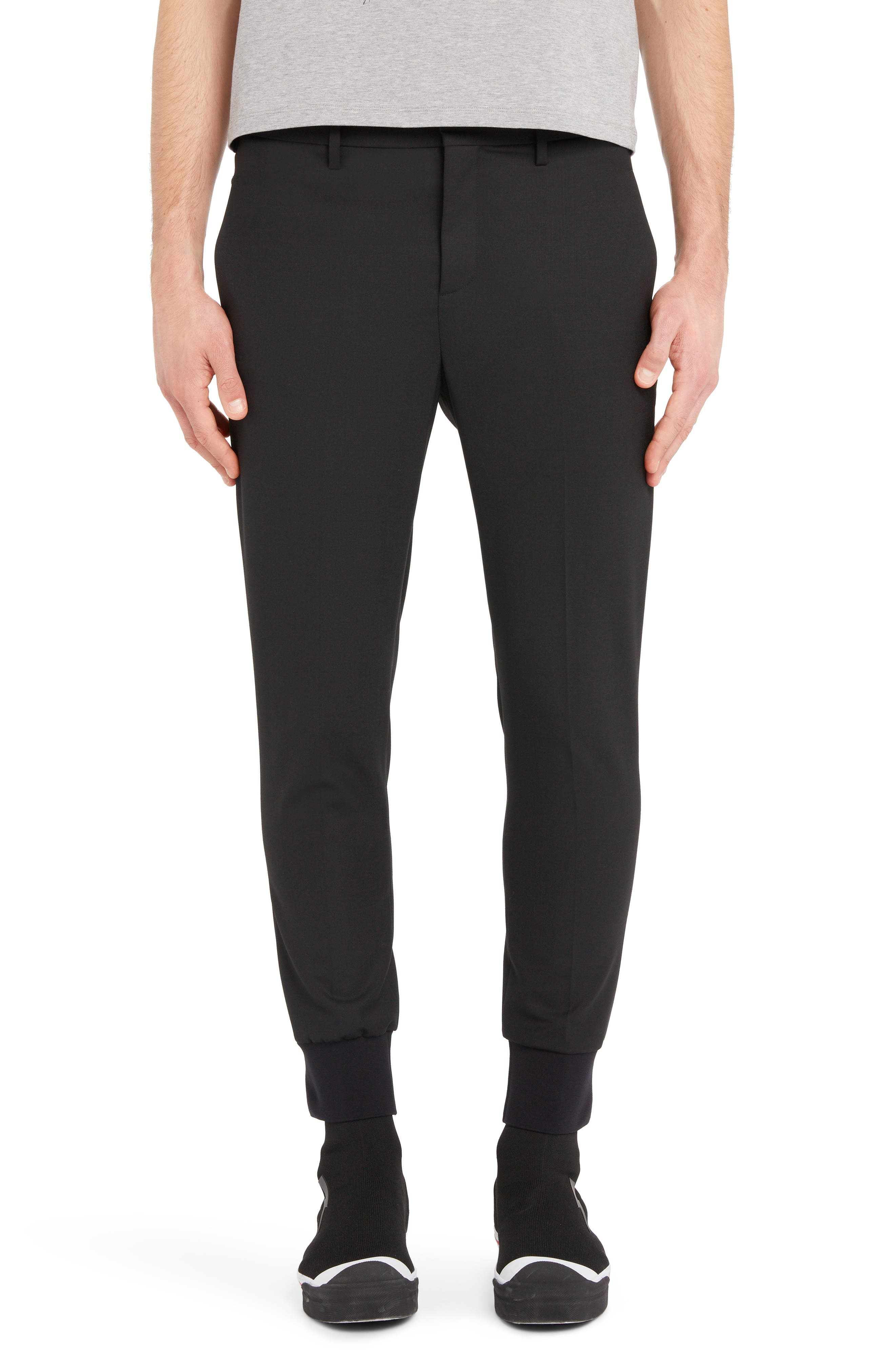 NEIL BARRETT, Ribbed Cuff Trousers, Main thumbnail 1, color, BLACK