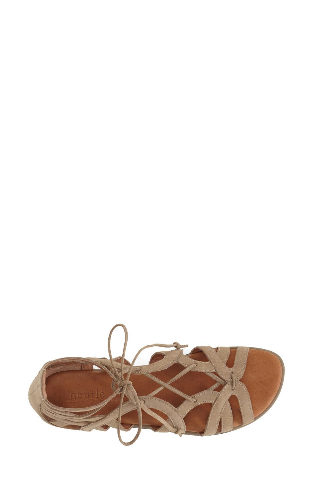 GENTLE SOULS BY KENNETH COLE, 'Break My Heart 3' Cage Sandal, Alternate thumbnail 3, color, TAUPE SUEDE