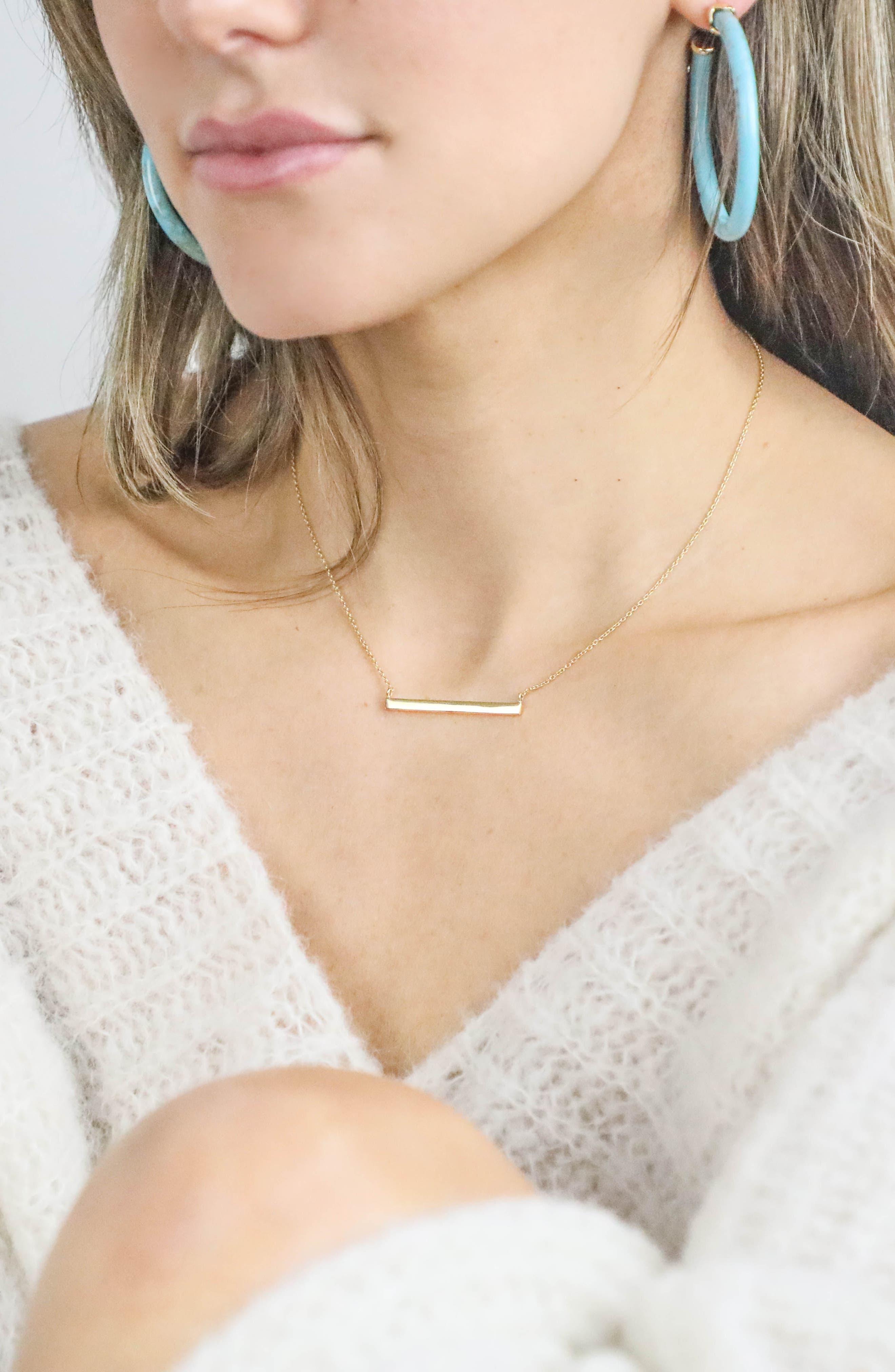 ARGENTO VIVO, Bar Pendant Necklace, Alternate thumbnail 3, color, GOLD