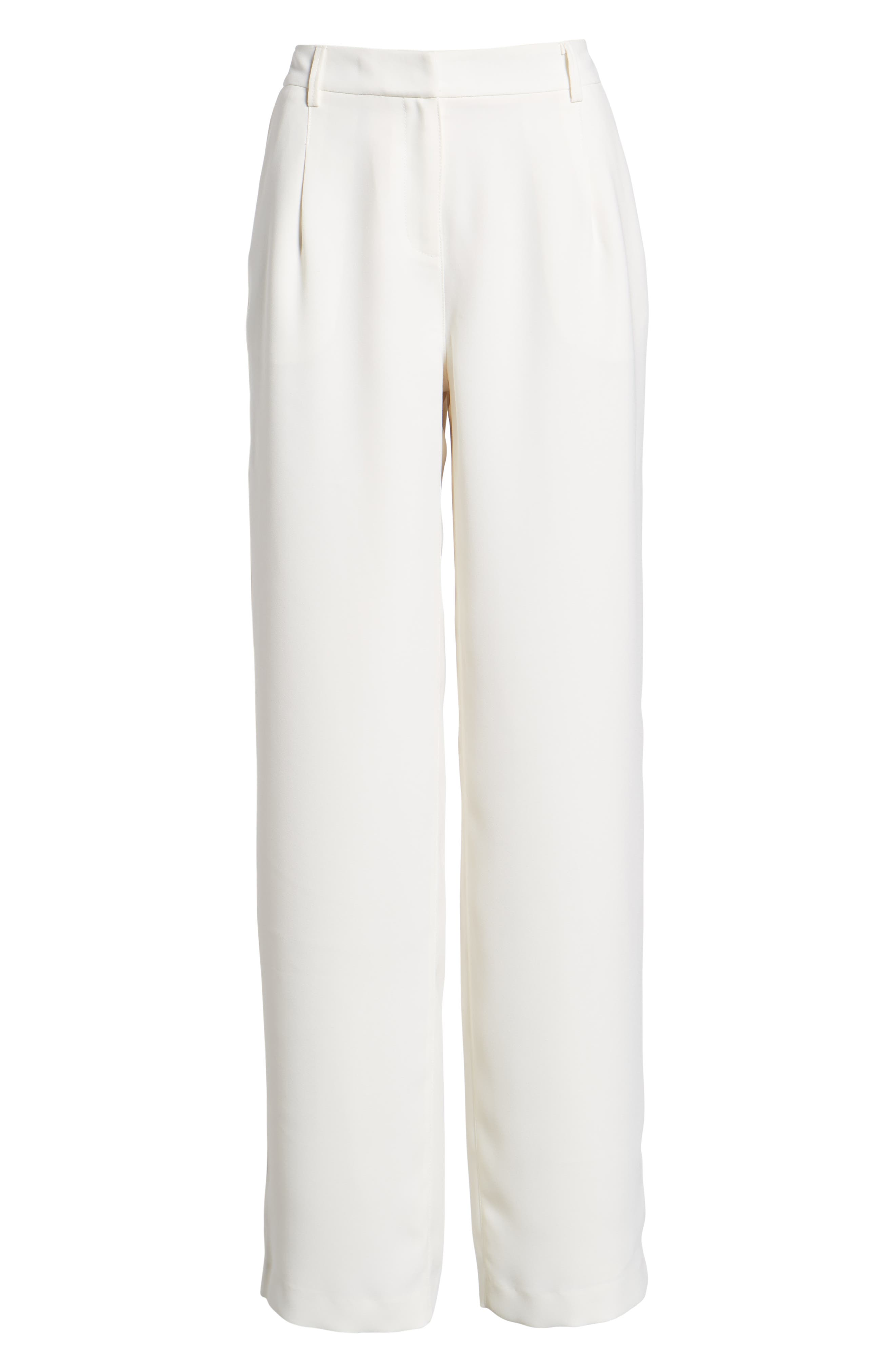 SOMETHING NAVY, Pleated Wide Leg Trousers, Alternate thumbnail 8, color, IVORY