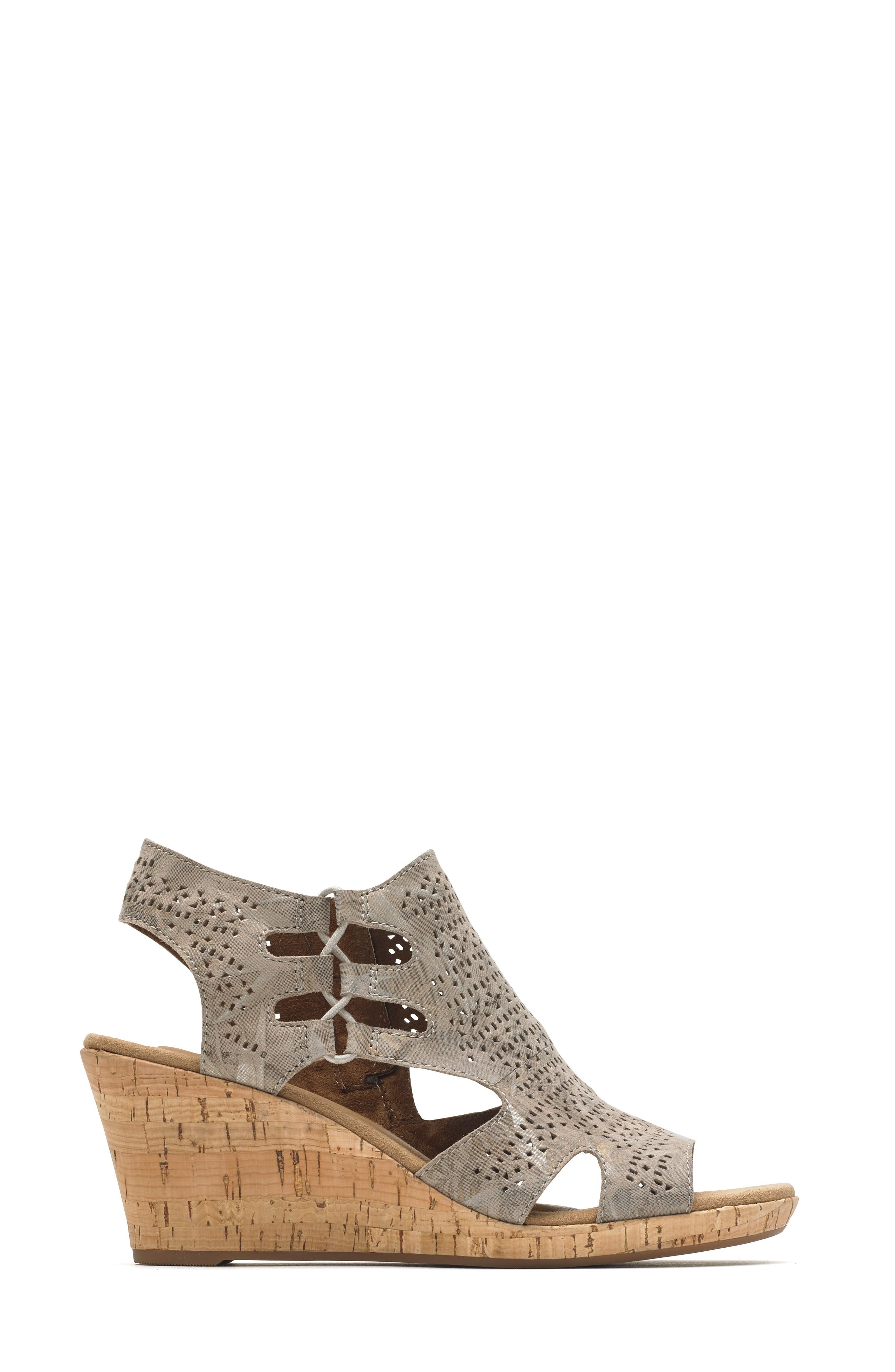ROCKPORT COBB HILL, Janna Perforated Wedge Sandal, Alternate thumbnail 3, color, FLORAL METALLIC LEATHER