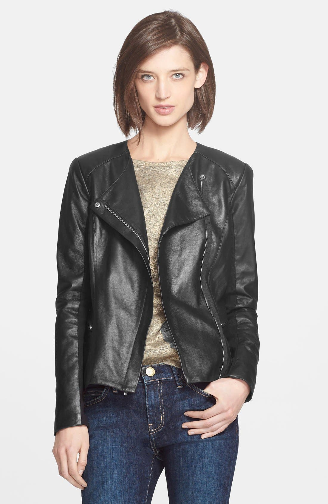 VEDA, 'Aires' Asymmetrical Zip Leather Jacket, Alternate thumbnail 5, color, 001