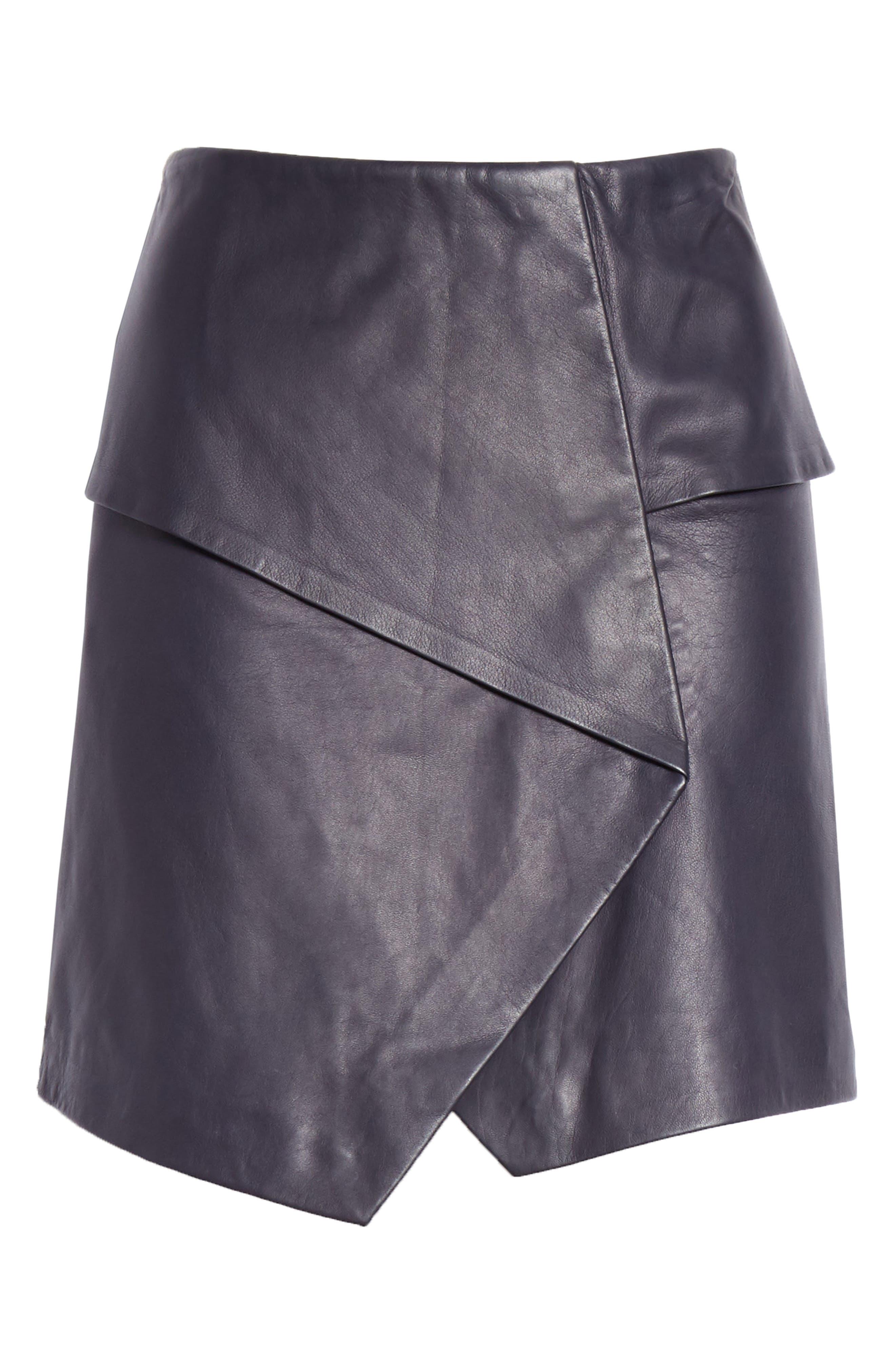 JOIE, Akirako Leather Miniskirt, Alternate thumbnail 6, color, MIDNIGHT