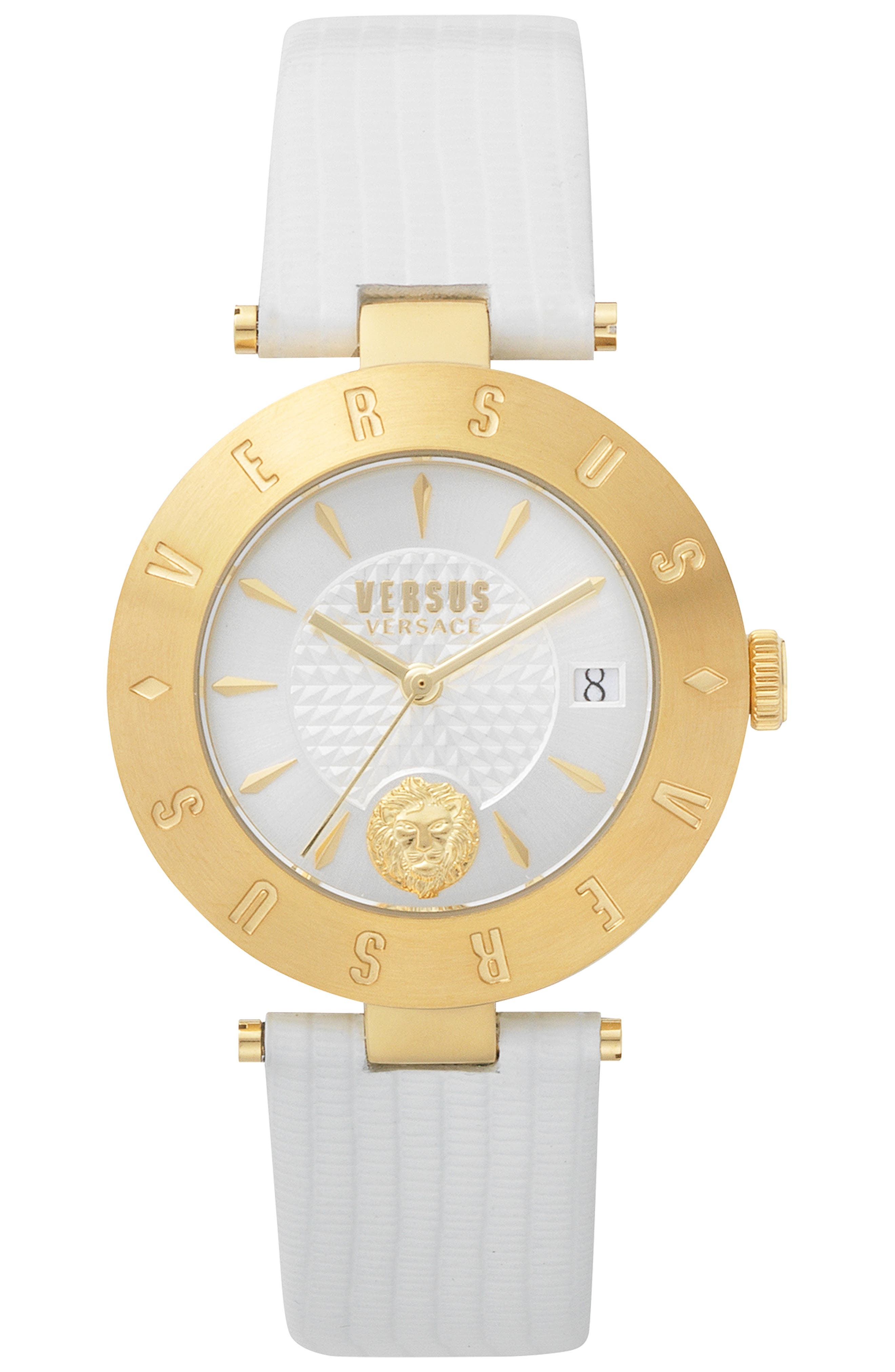 VERSUS VERSACE, Logo Leather Strap Watch, 34mm, Main thumbnail 1, color, WHITE/ GOLD