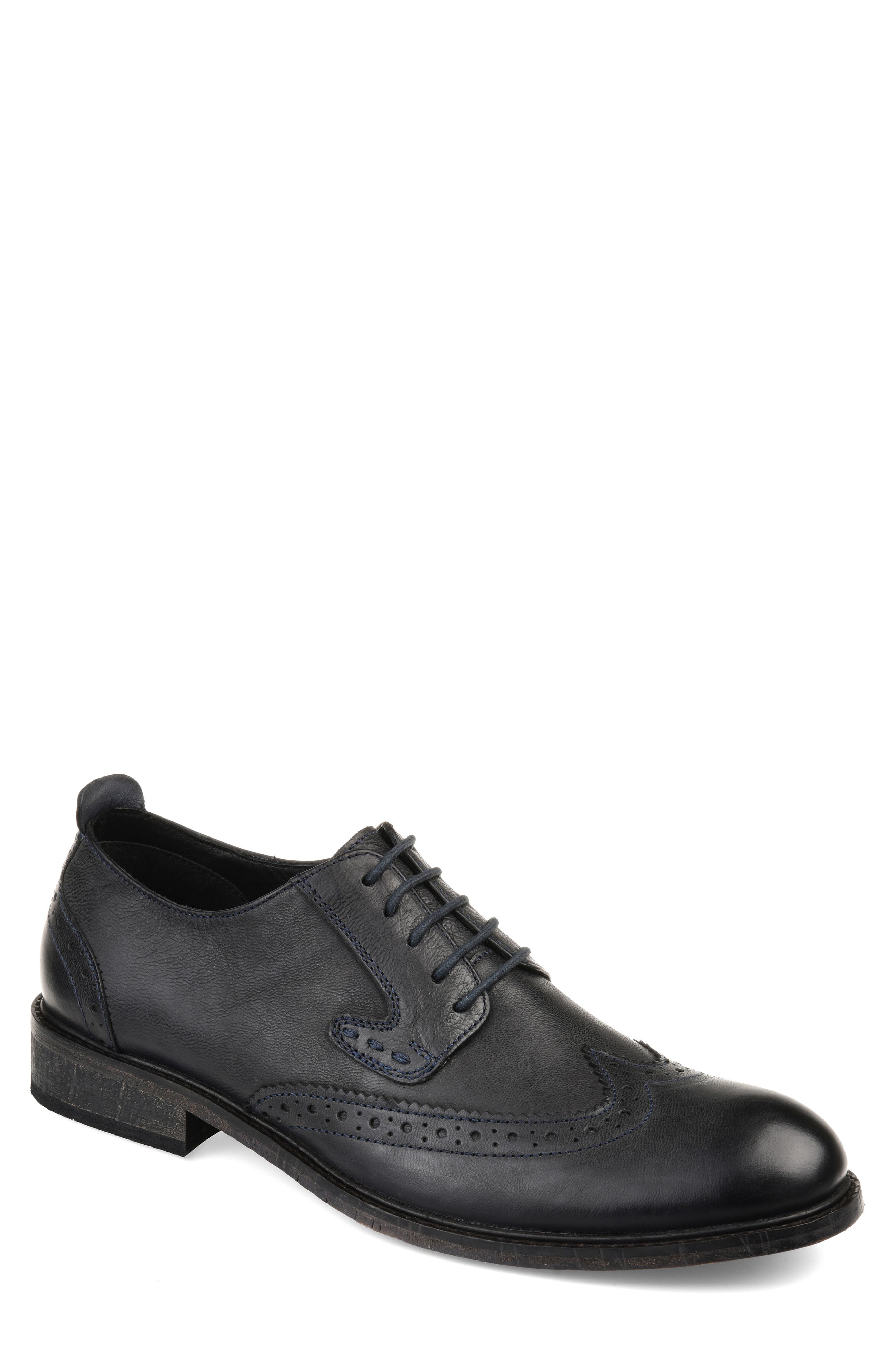 THOMAS AND VINE, Uriah Wingtip Derby, Main thumbnail 1, color, BLACK LEATHER