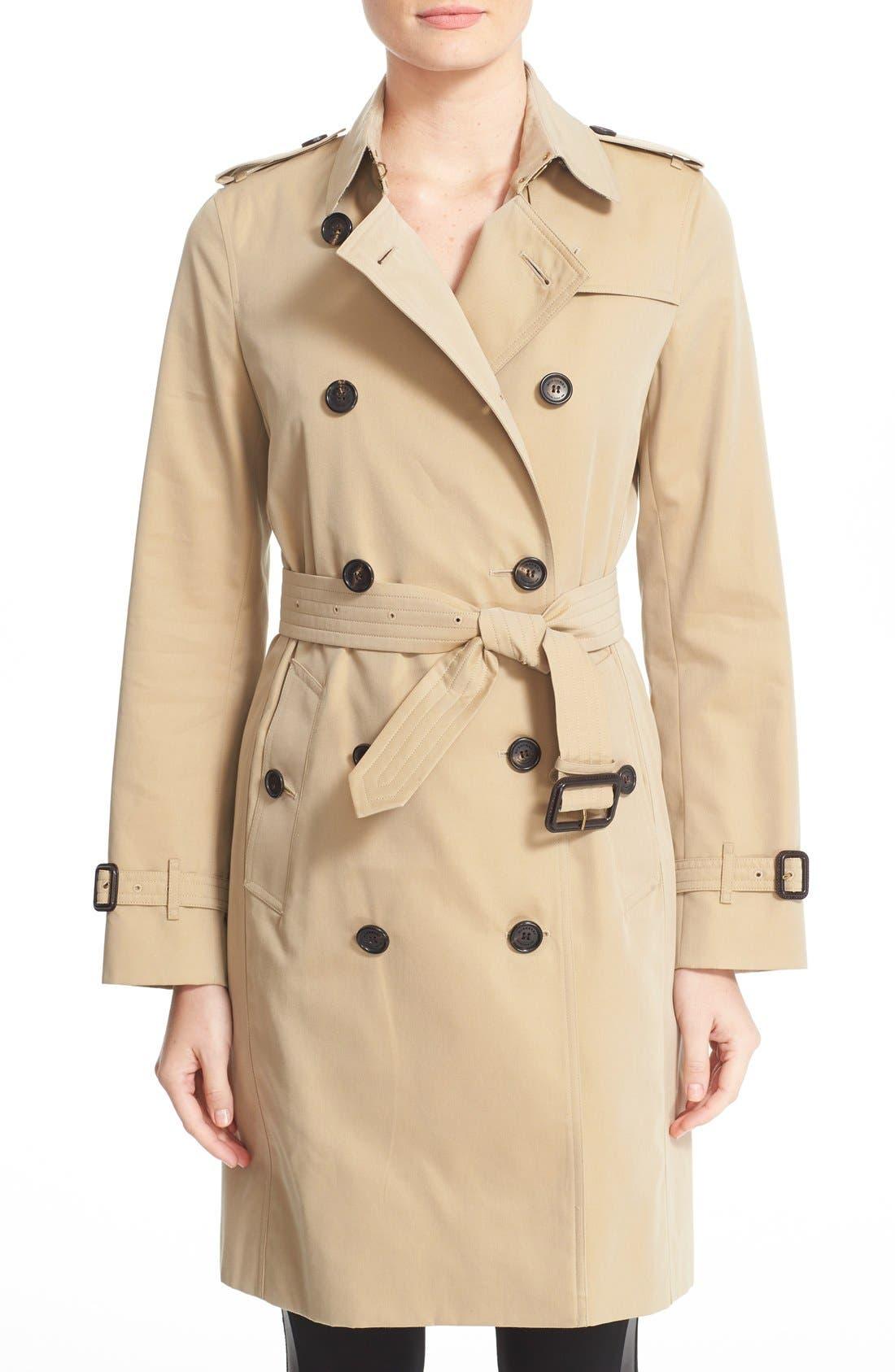 BURBERRY Kensington Long Trench Coat, Main, color, HONEY