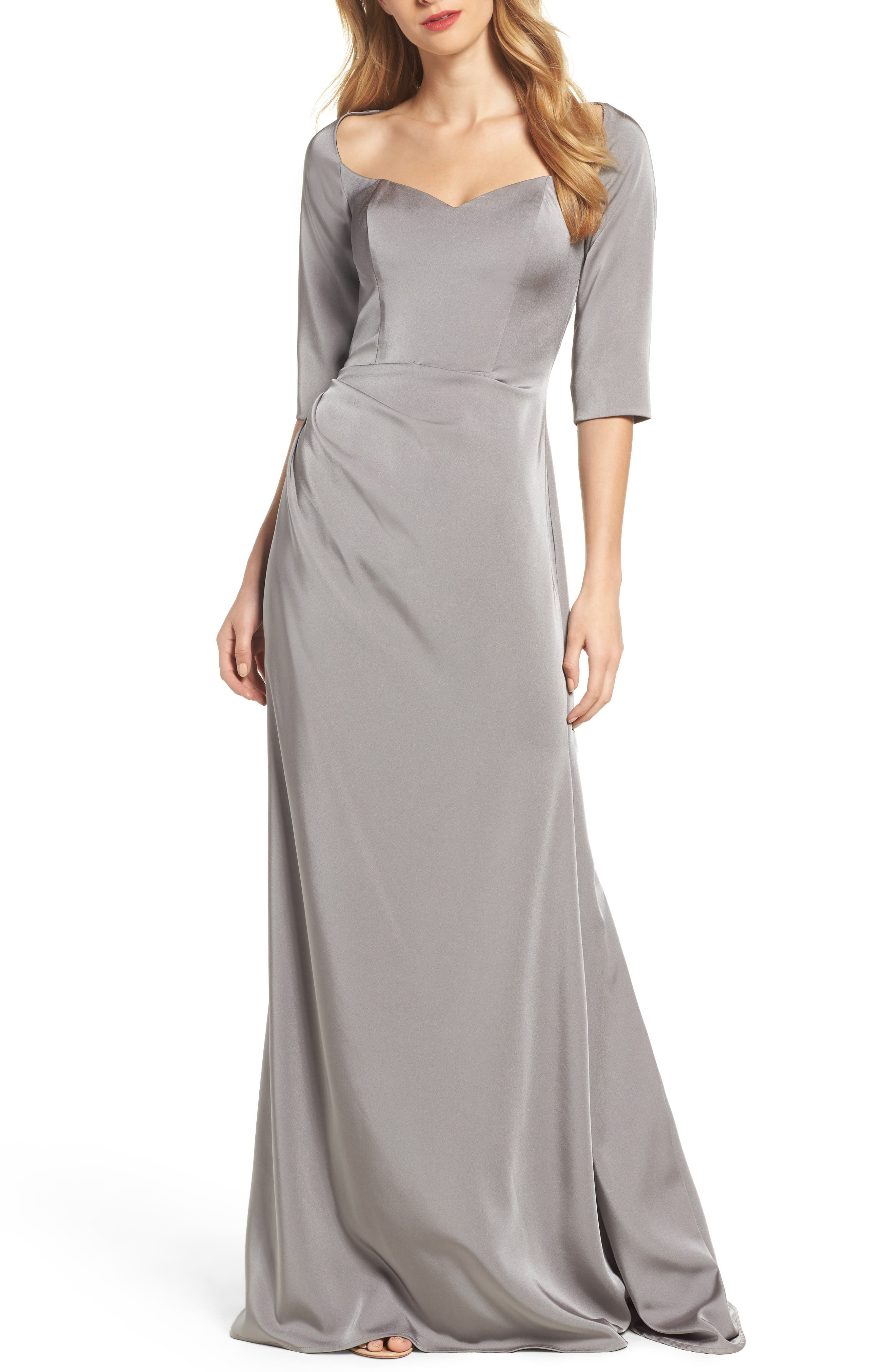 LA FEMME, Sweetheart Satin Gown, Main thumbnail 1, color, PLATINUM